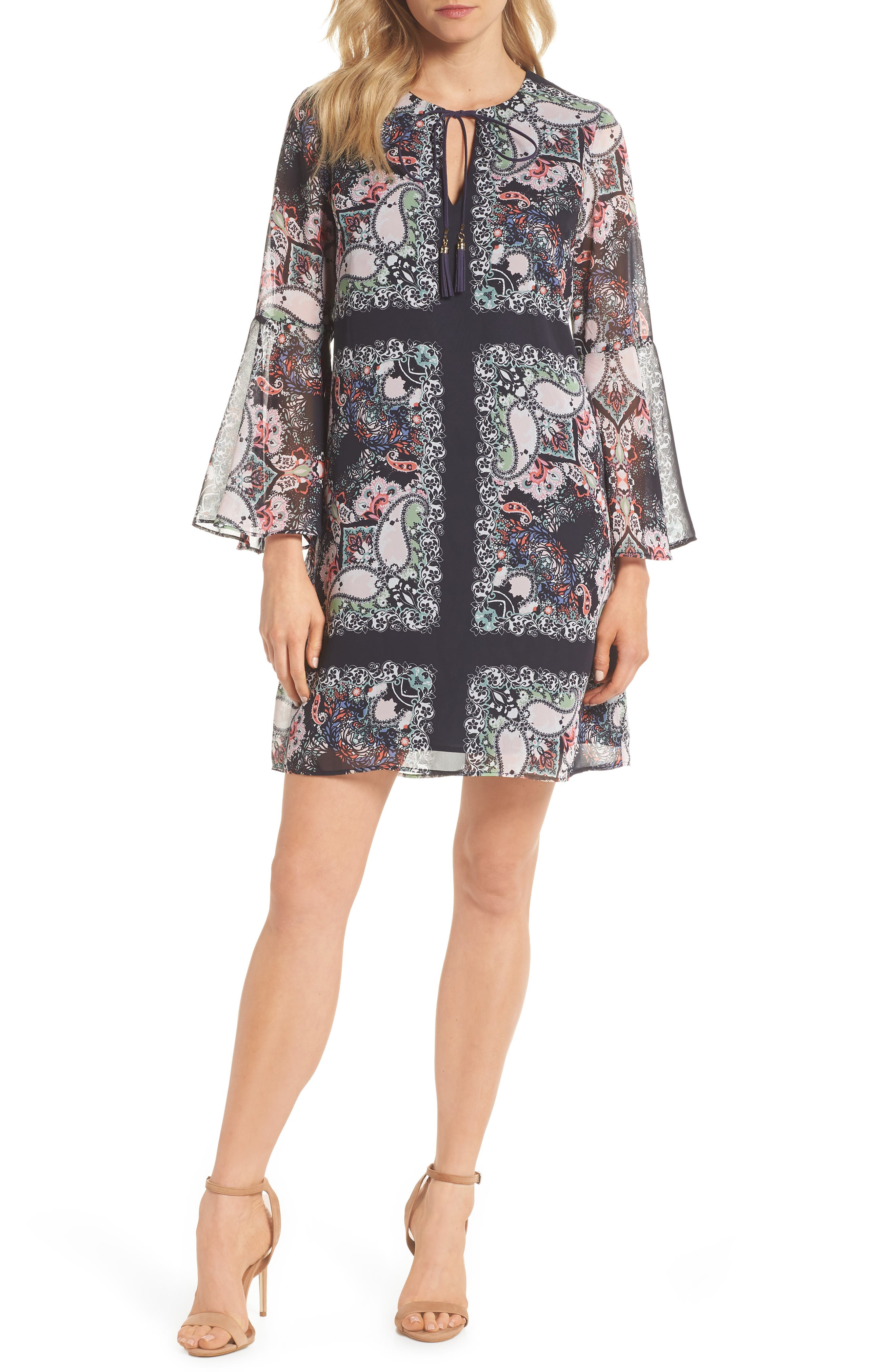 Bell Sleeve Floral Chiffon Shift Dress,                         Main,                         color, Pink/ Blue