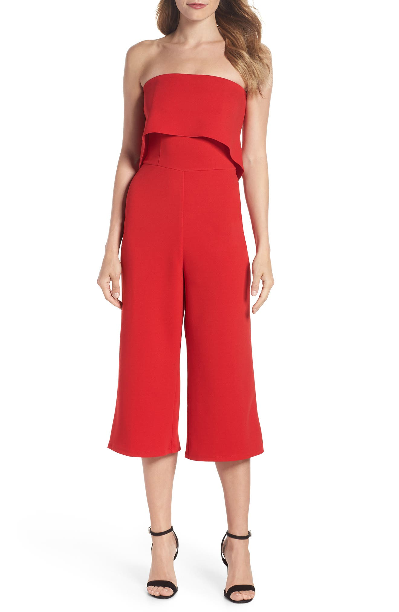 Strapless Culotte Jumpsuit,                             Main thumbnail 1, color,                             Red