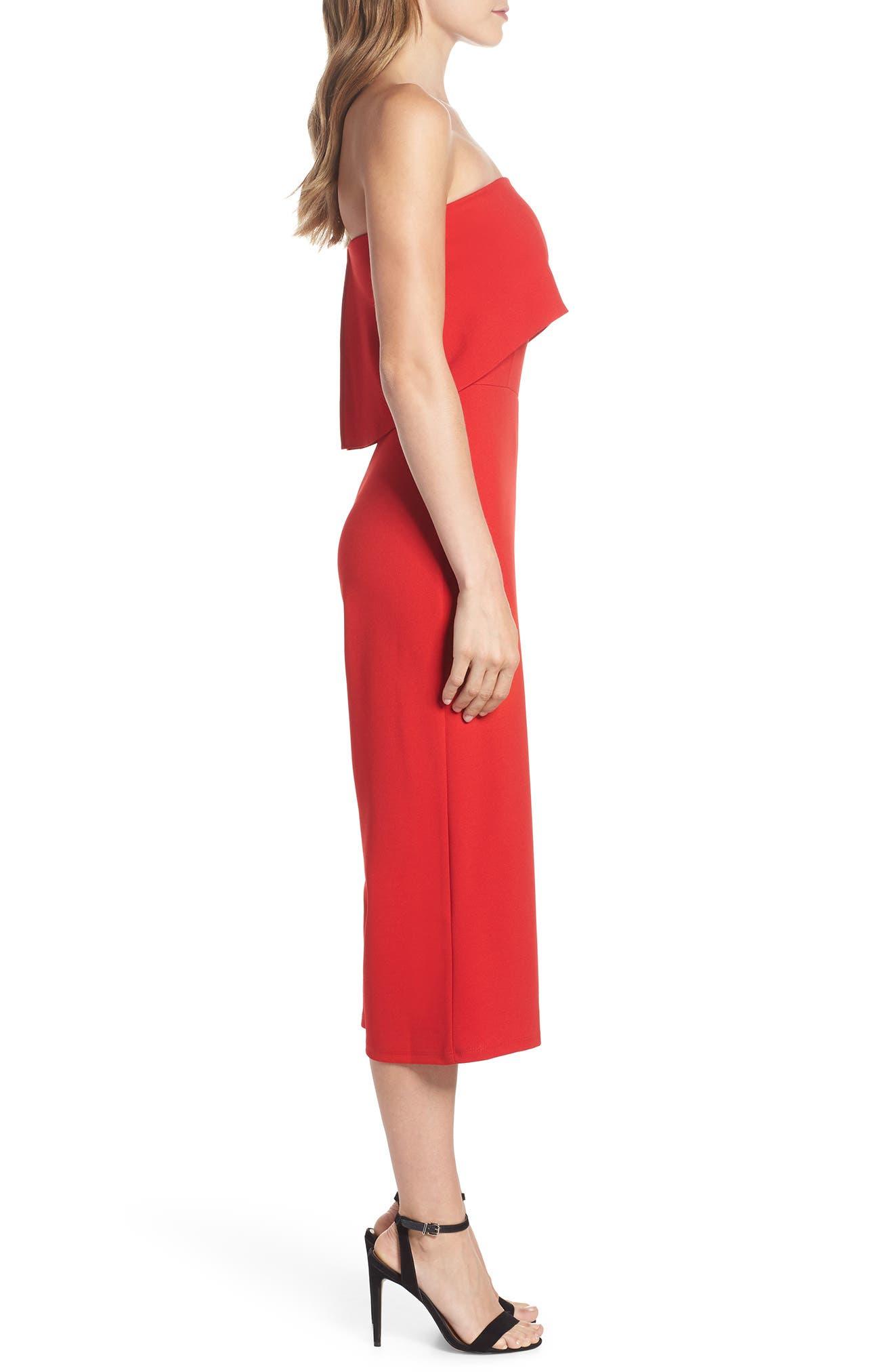 Strapless Culotte Jumpsuit,                             Alternate thumbnail 3, color,                             Red