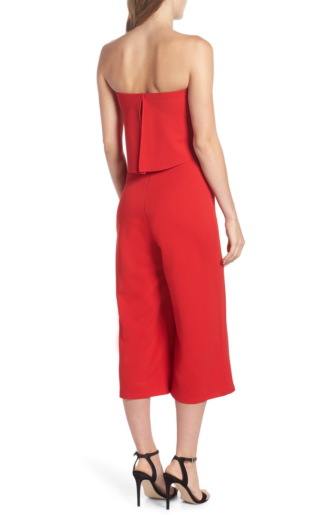 Strapless Culotte Jumpsuit,                             Alternate thumbnail 2, color,                             Red