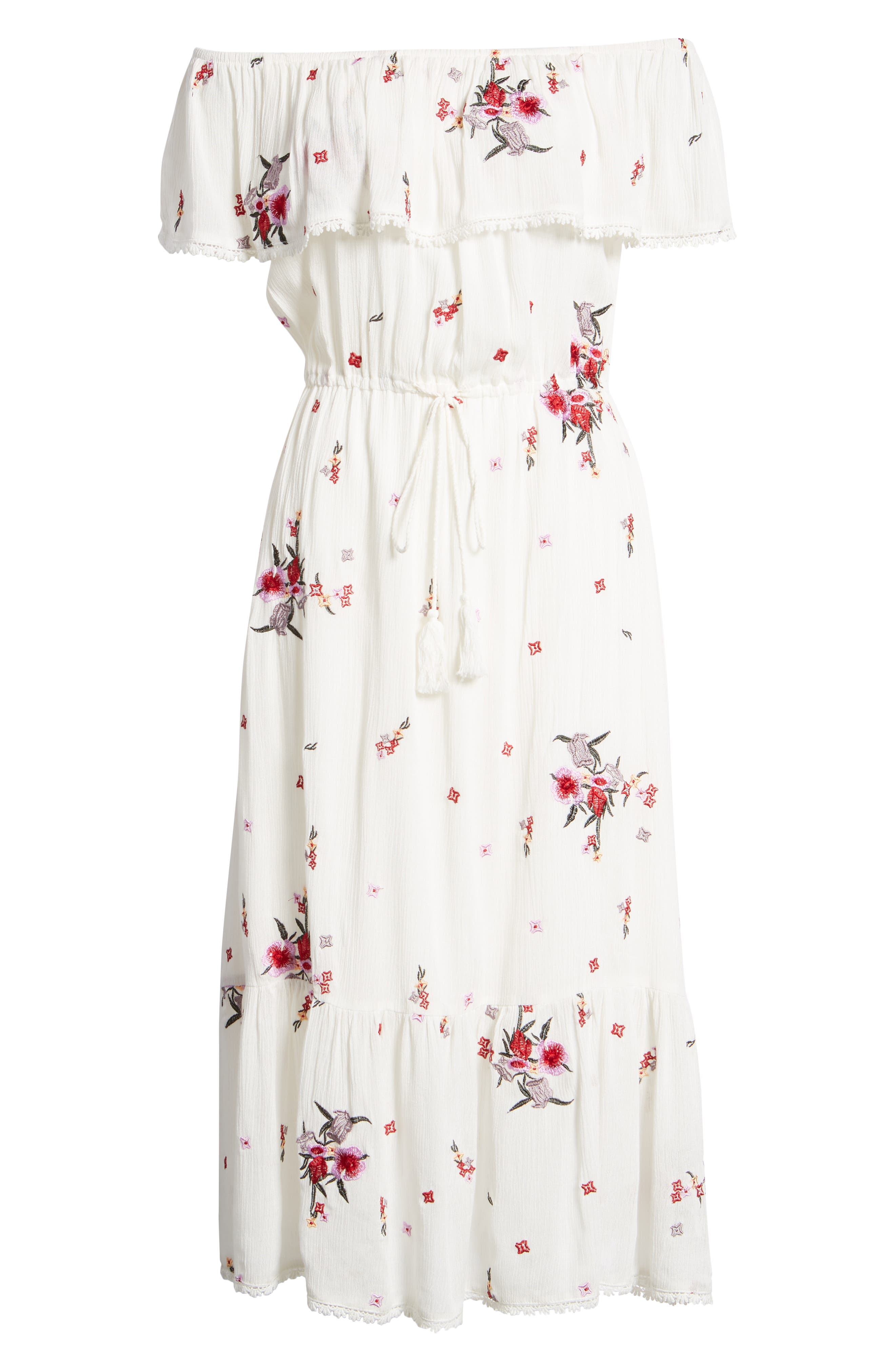 Senorita Embroidered Off the Shoulder Midi Dress,                             Alternate thumbnail 8, color,                             White Floral
