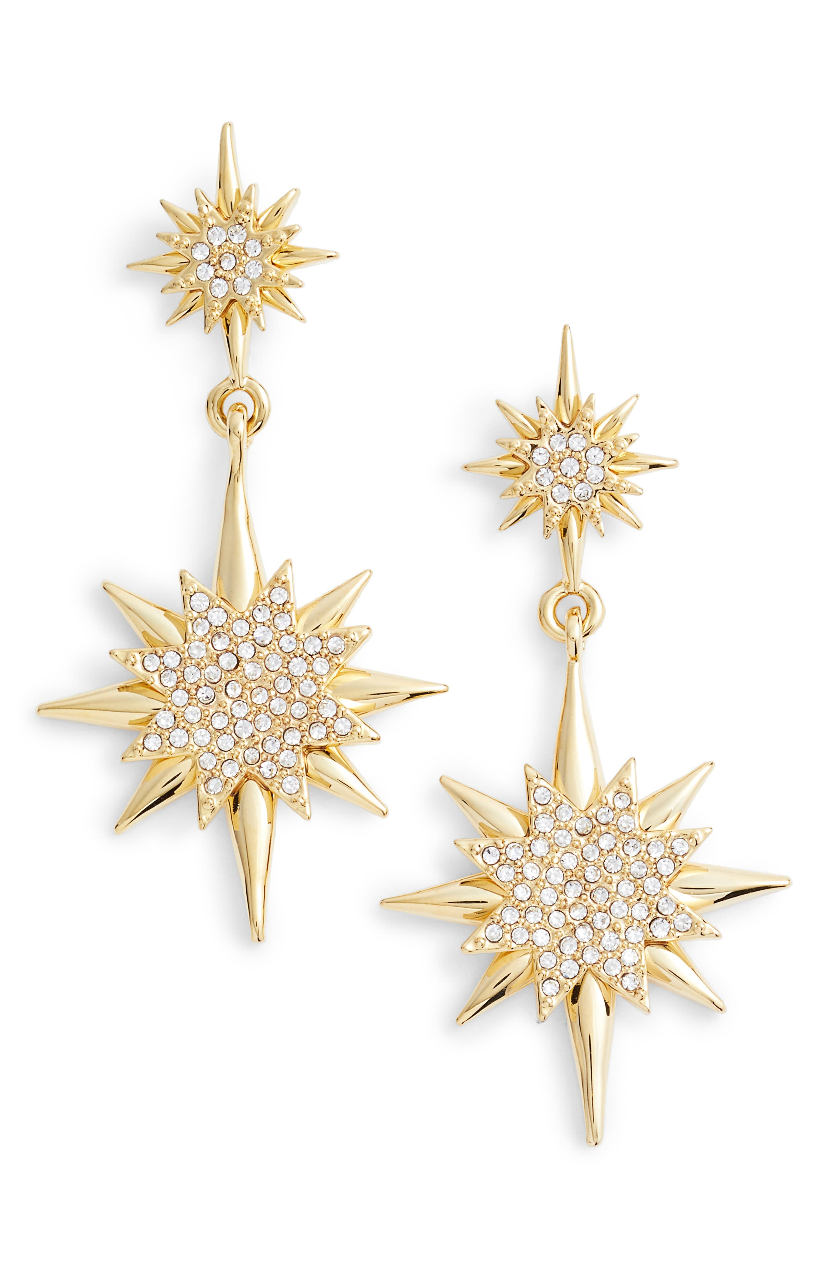 Crystal Starburst Drop Earrings,                         Main,                         color, Gold