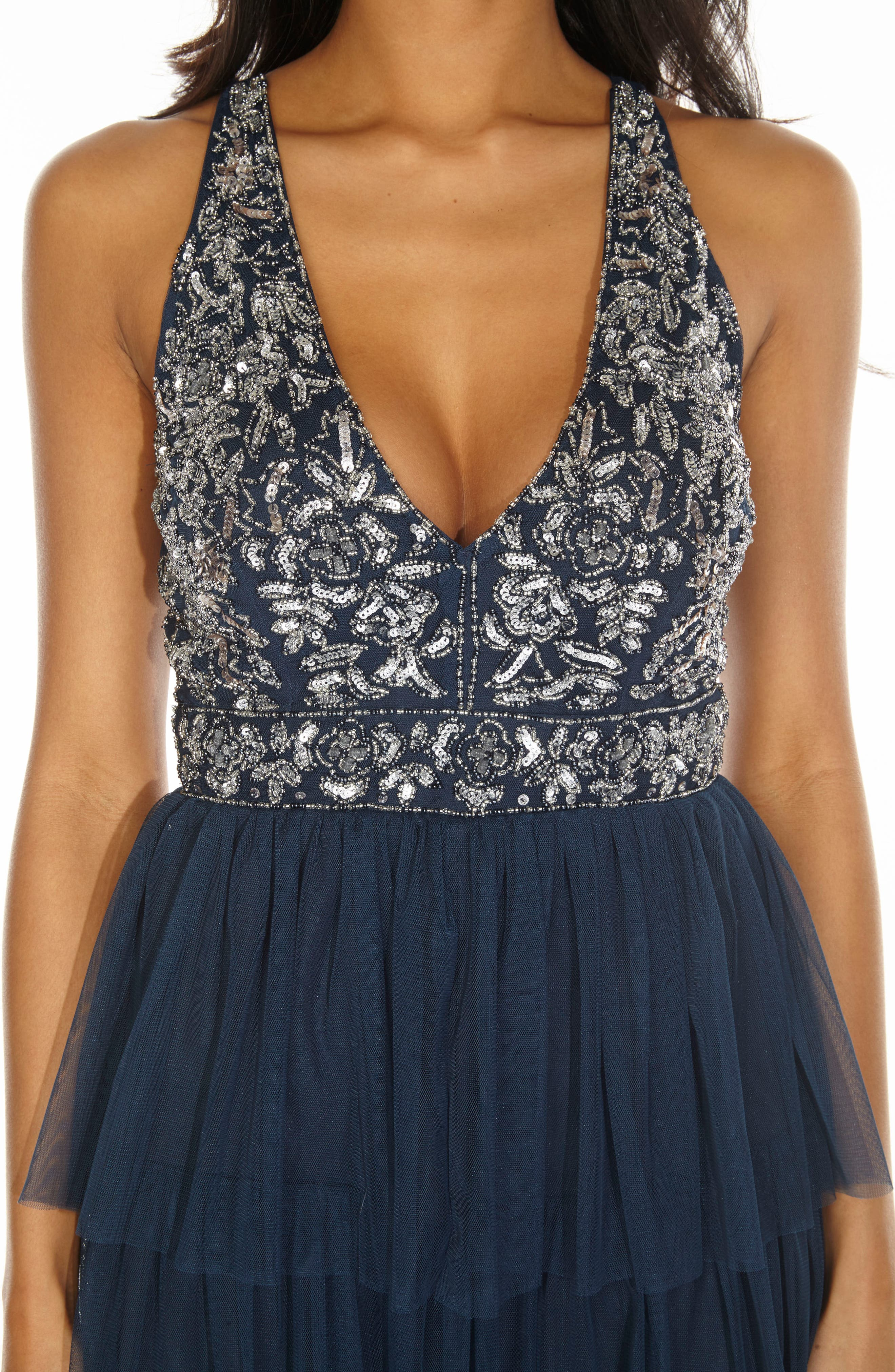 Embellished Tiered Fit & Flare Dress,                             Alternate thumbnail 3, color,                             Navy