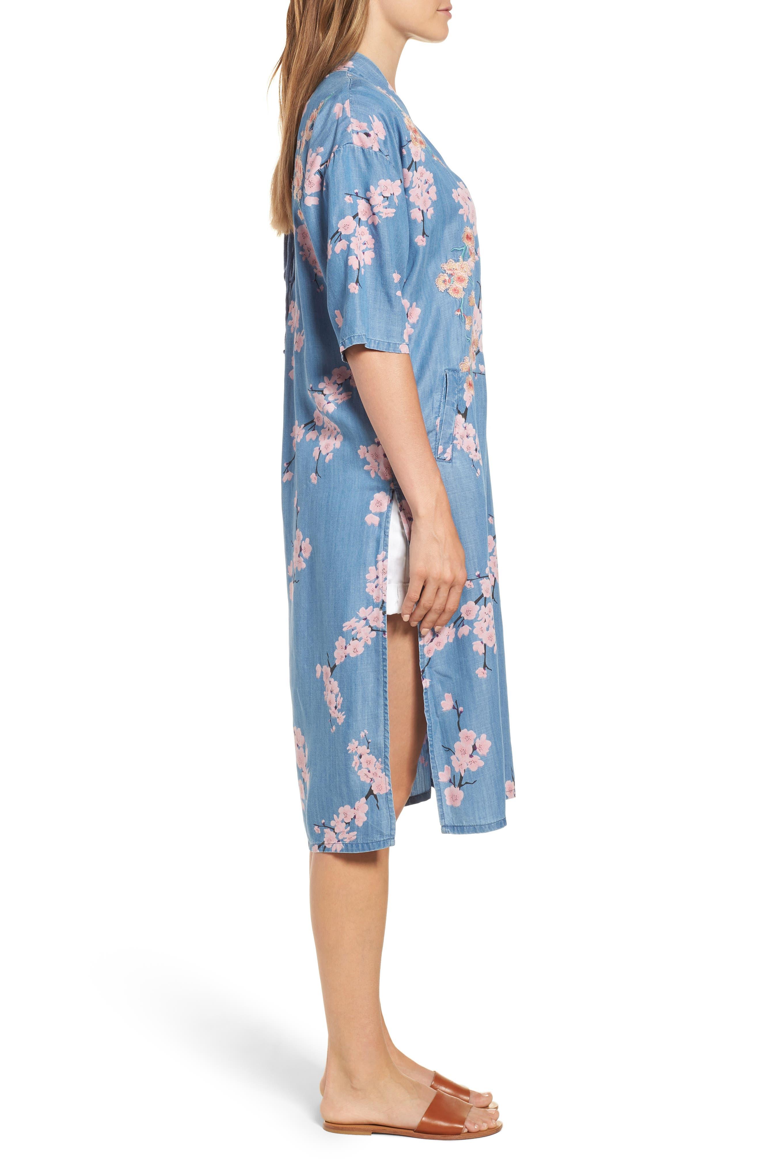 Cherry Blossom Kimono,                             Alternate thumbnail 3, color,                             Blue Cherry Blossom