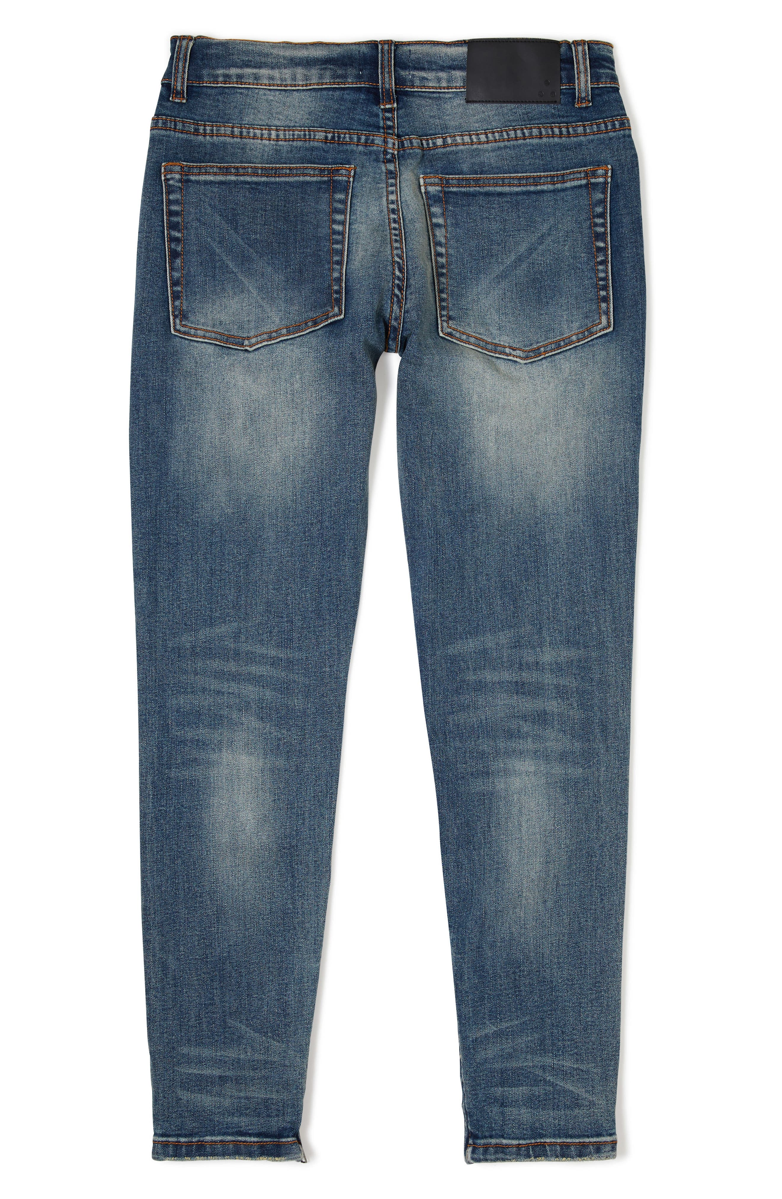 Sand Blasted Moto Skinny Jeans Big Boys),                             Alternate thumbnail 2, color,                             Dark Wash Denim