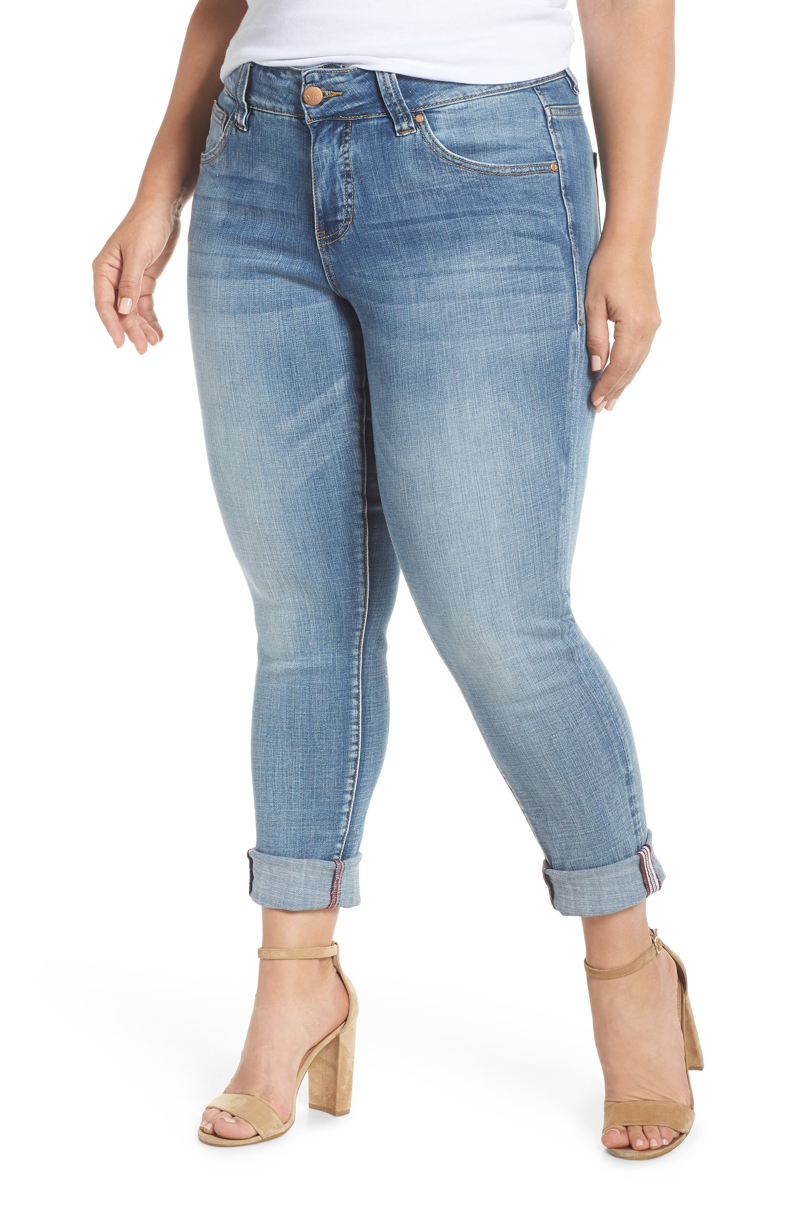 Carter Girlfriend Jeans,                             Main thumbnail 1, color,                             Med Indigo