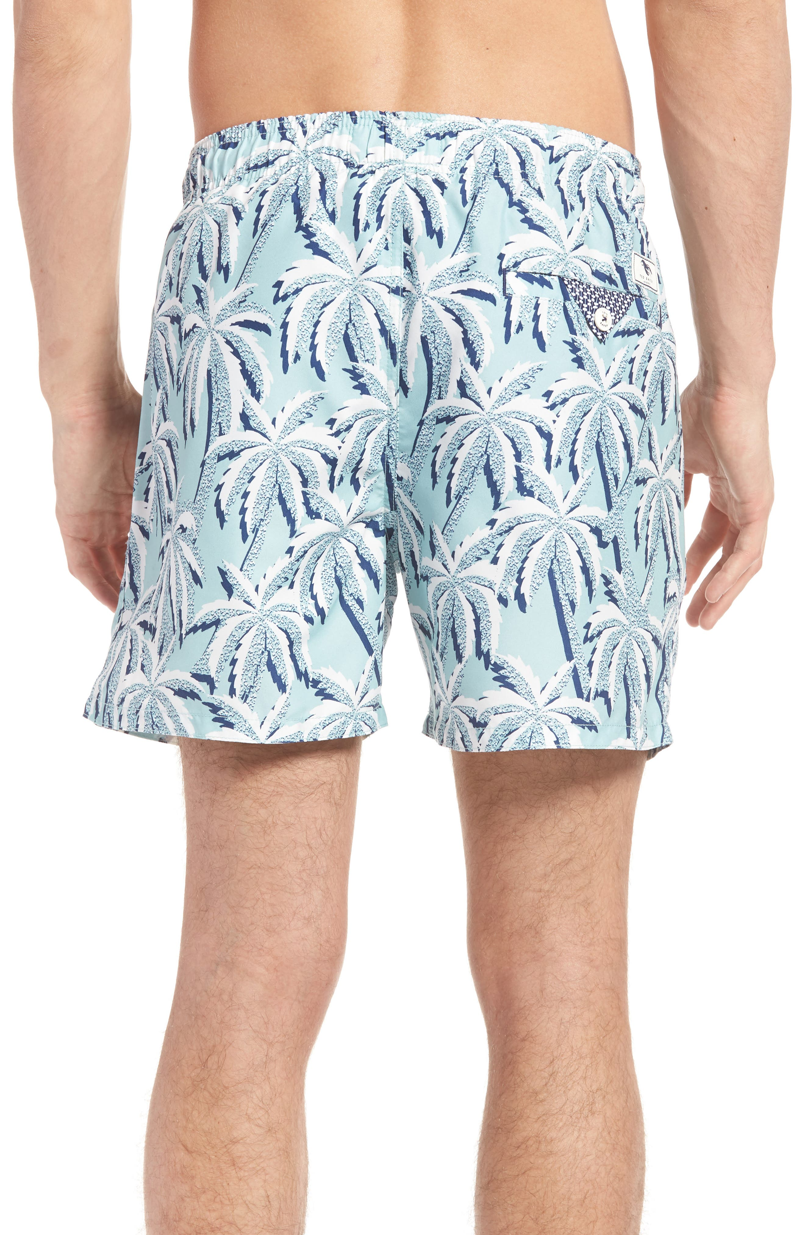 Hoppah Palm Print Swim Shorts,                             Alternate thumbnail 2, color,                             Mint