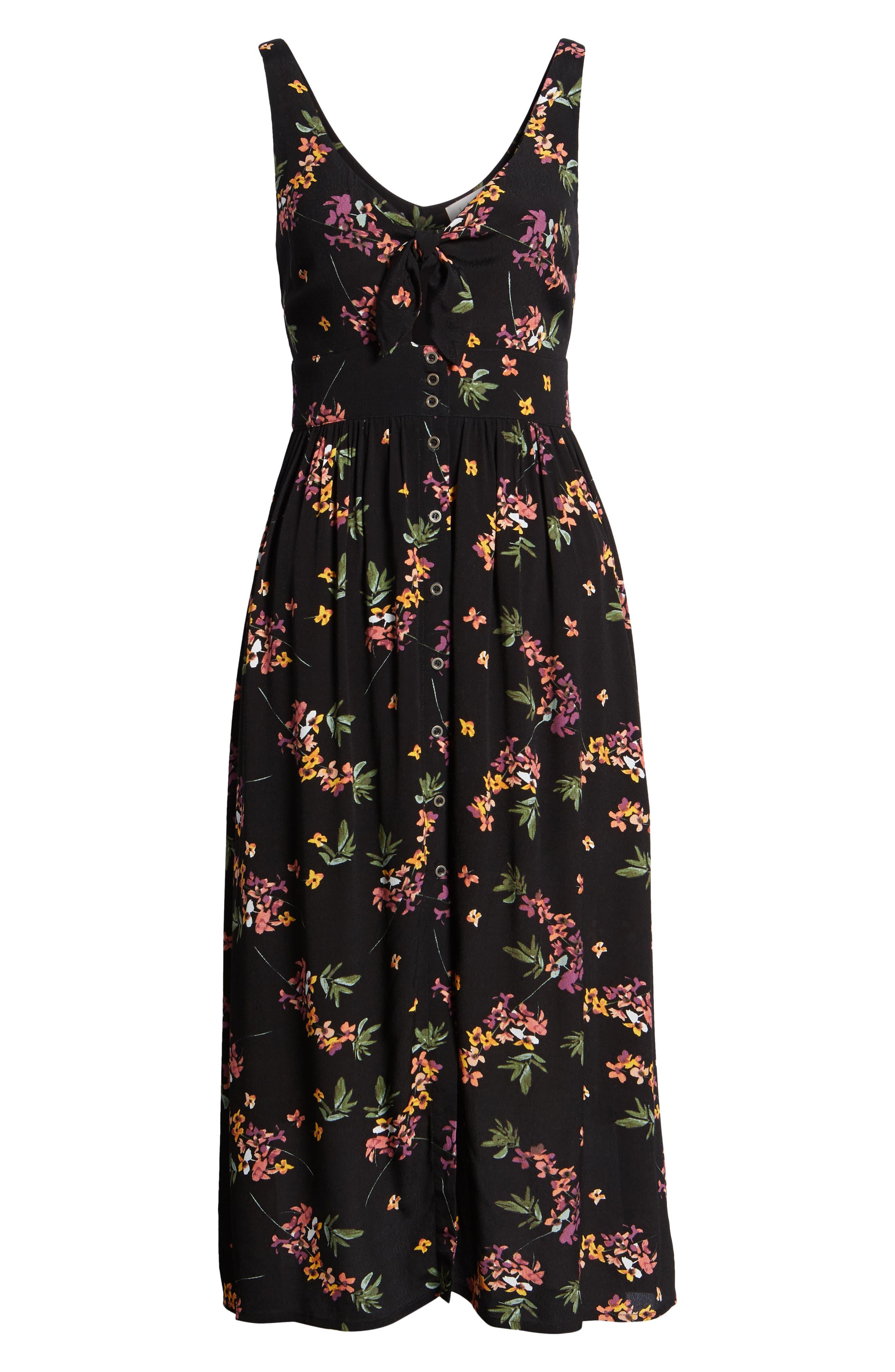 Floral Midi Dress,                             Alternate thumbnail 8, color,                             Black Floral