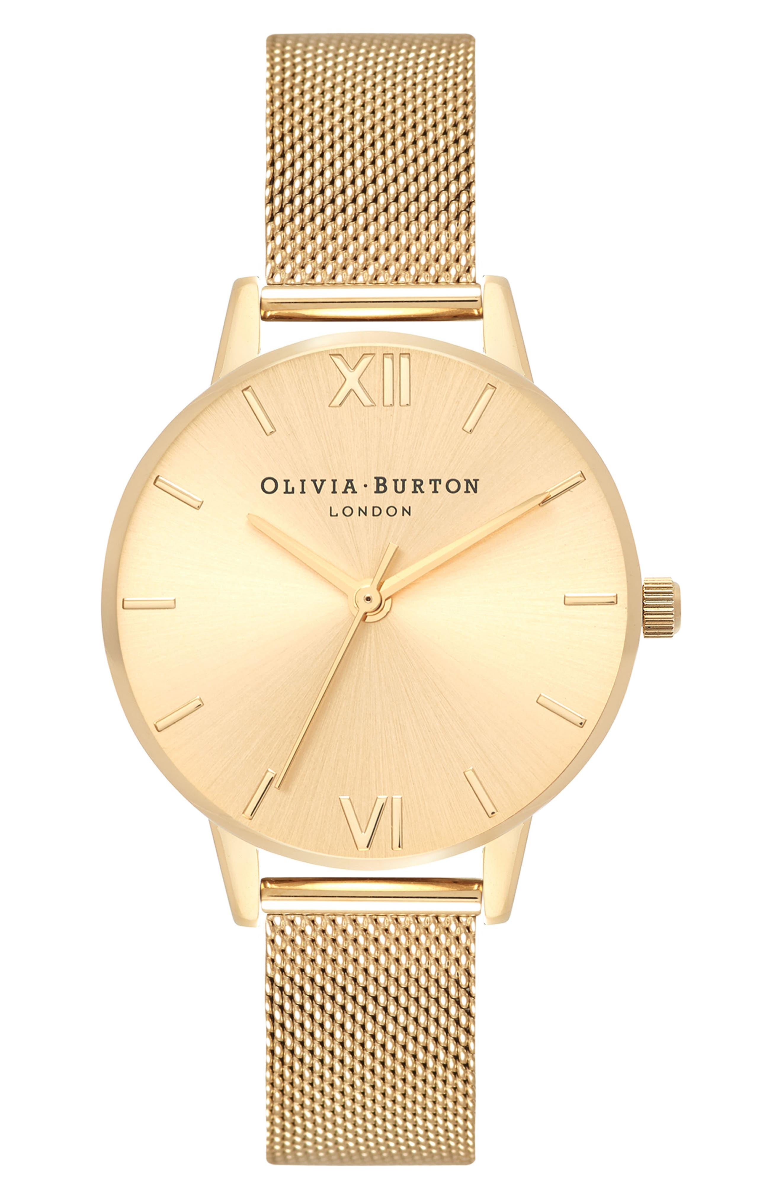 Sunray Mesh Strap Watch, 30mm,                         Main,                         color, Gold