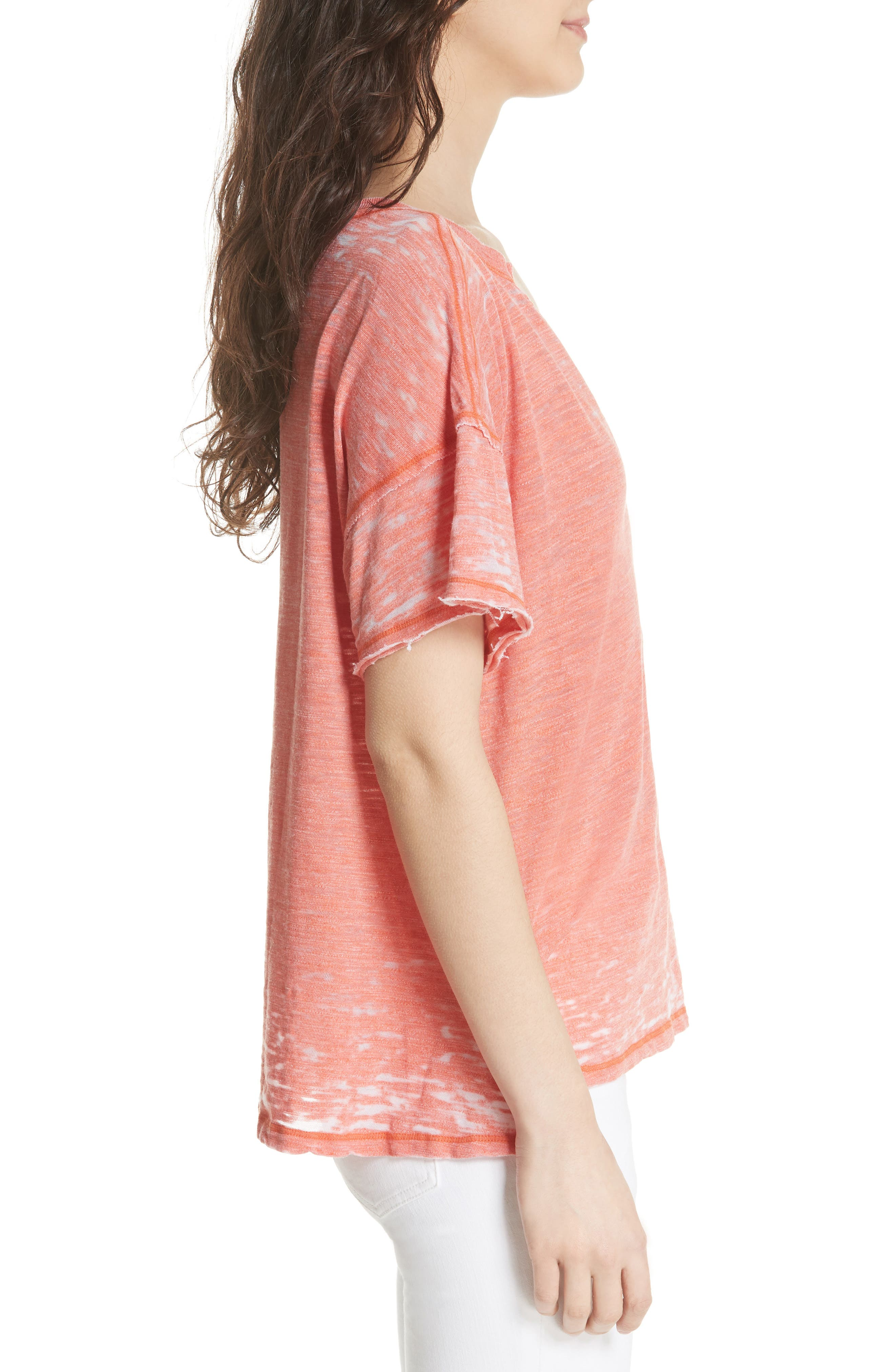 Maddie Burnout Tee,                             Alternate thumbnail 3, color,                             Coral