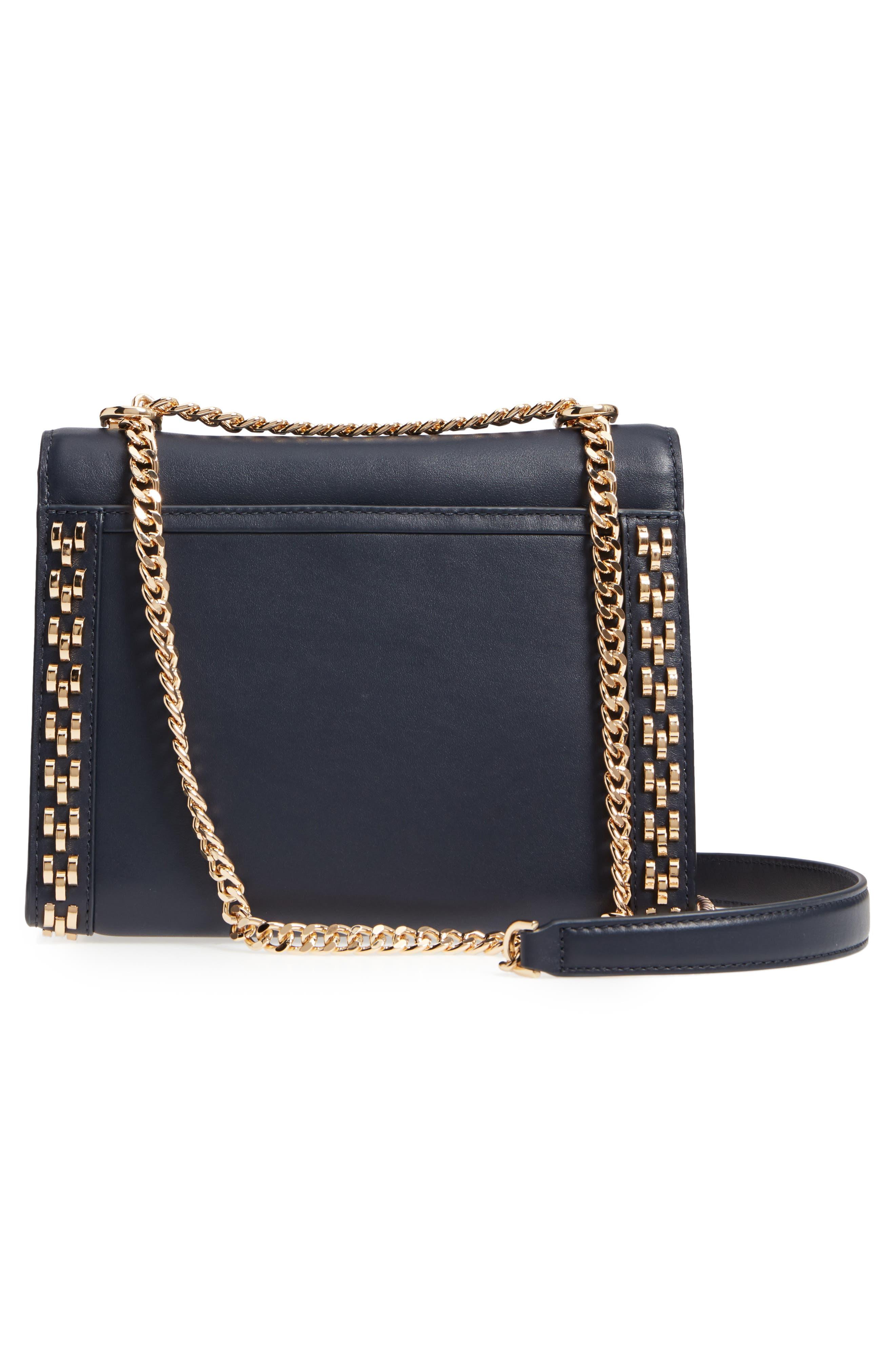 Large Embellished Leather Shoulder Bag,                             Alternate thumbnail 3, color,                             Admiral