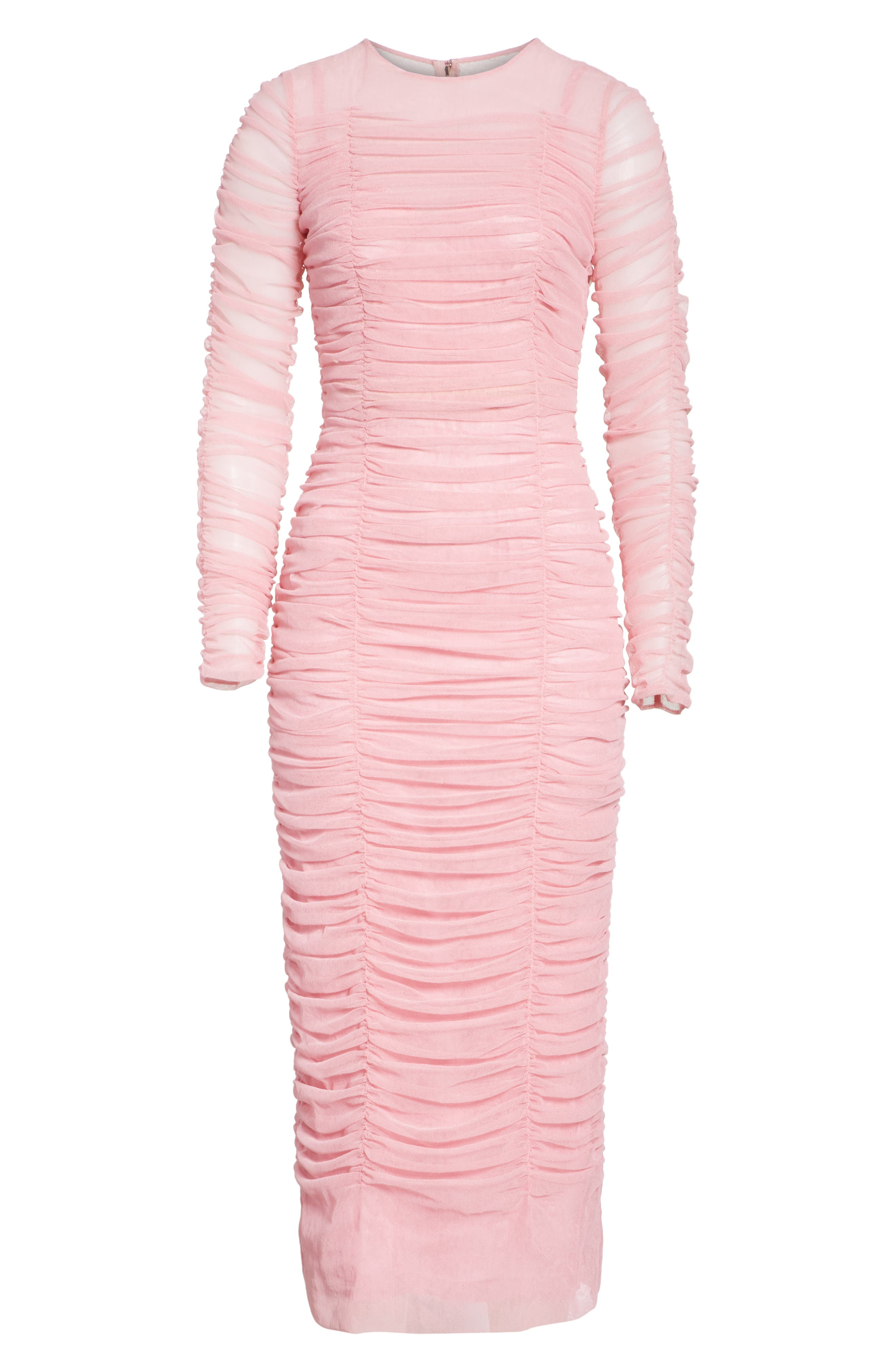 Ruched Tulle Body-Con Dress,                             Alternate thumbnail 6, color,                             Rosa
