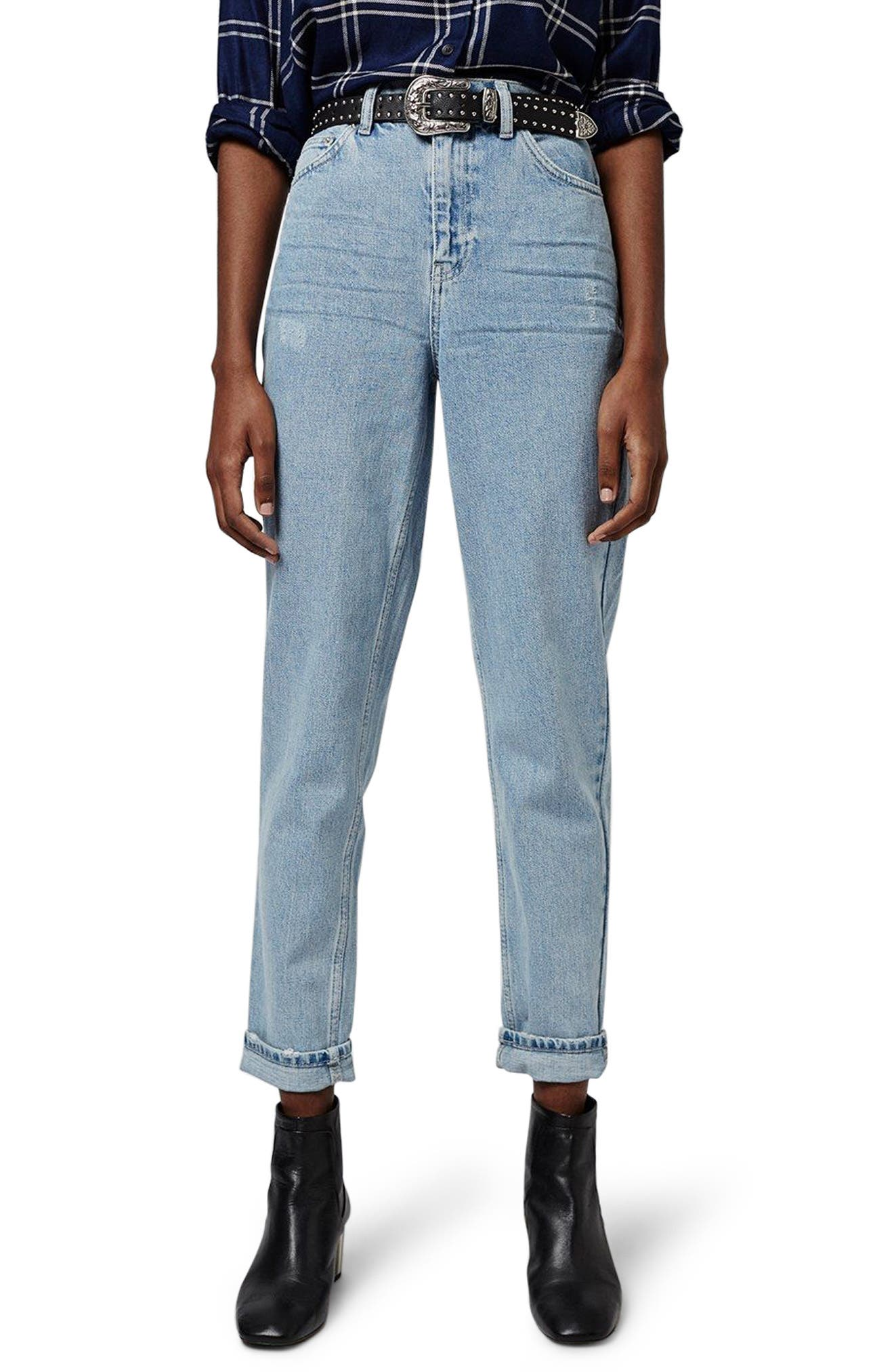 Mom Jeans,                         Main,                         color, Light Denim