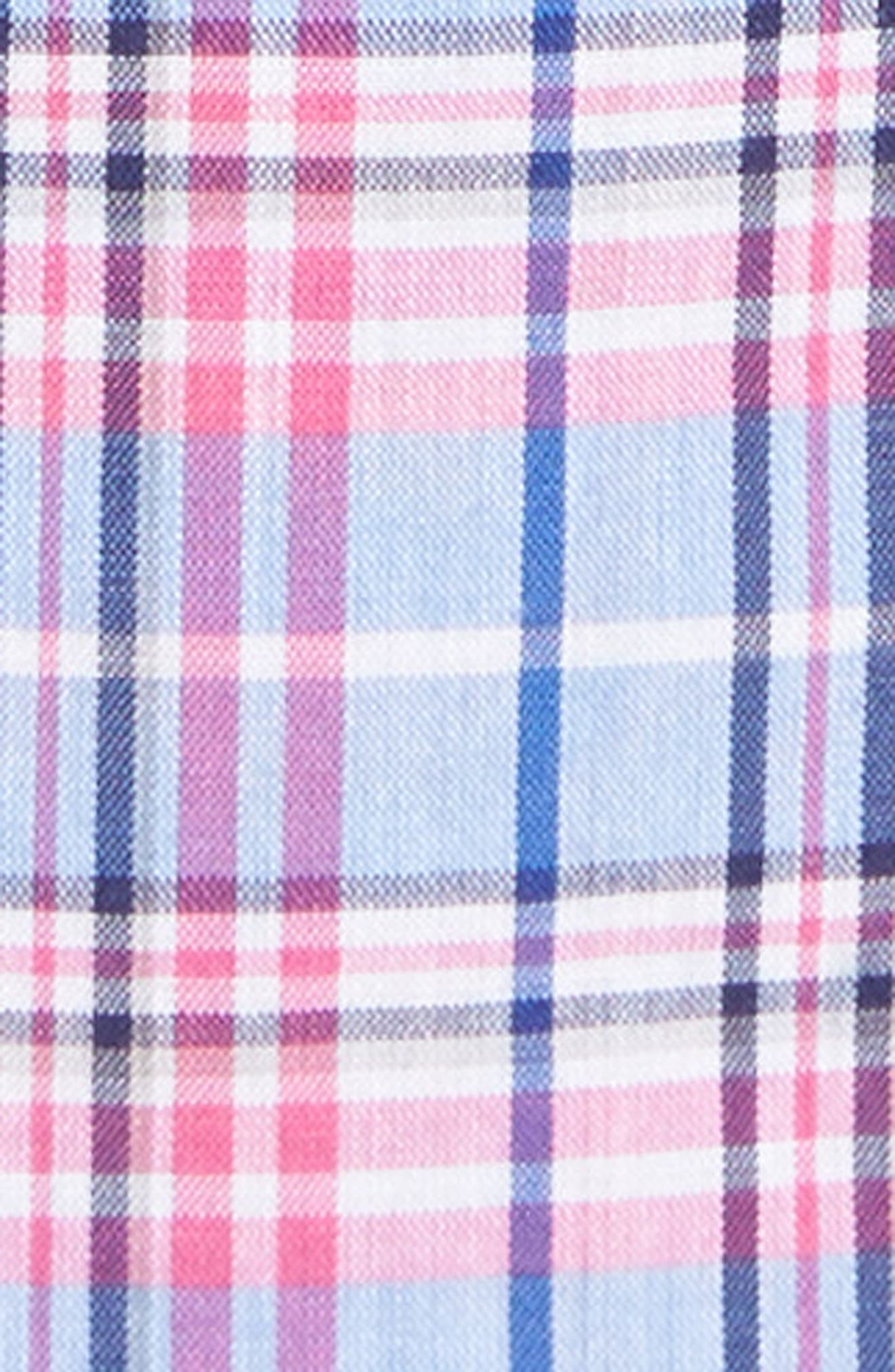 Summerweight Slim Fit Plaid Sport Shirt,                             Alternate thumbnail 5, color,                             Basswood Plaid - Pink Rocket