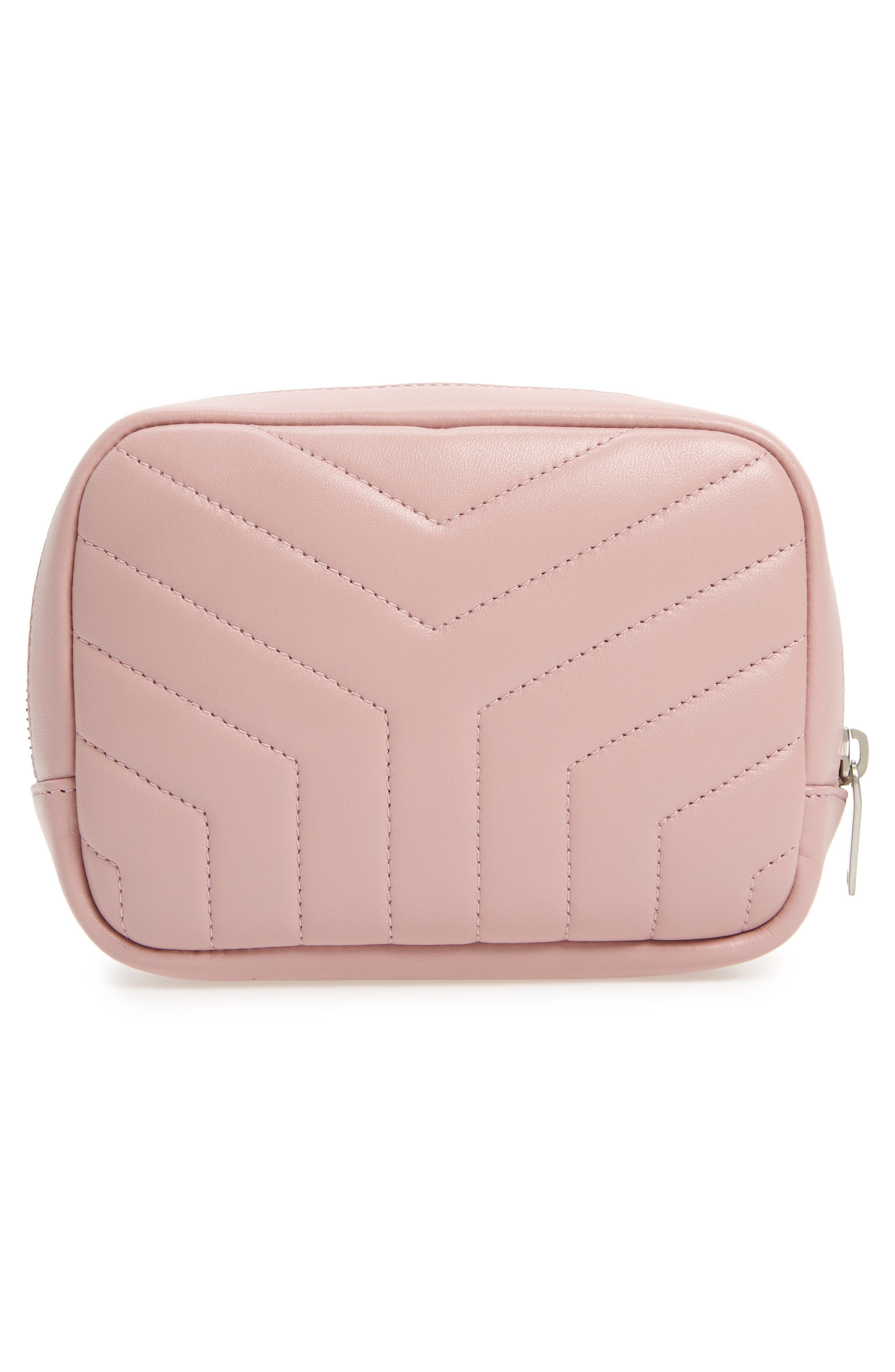 Loulou Matelassé Leather Cosmetics Bag,                             Alternate thumbnail 2, color,                             Tender Pink