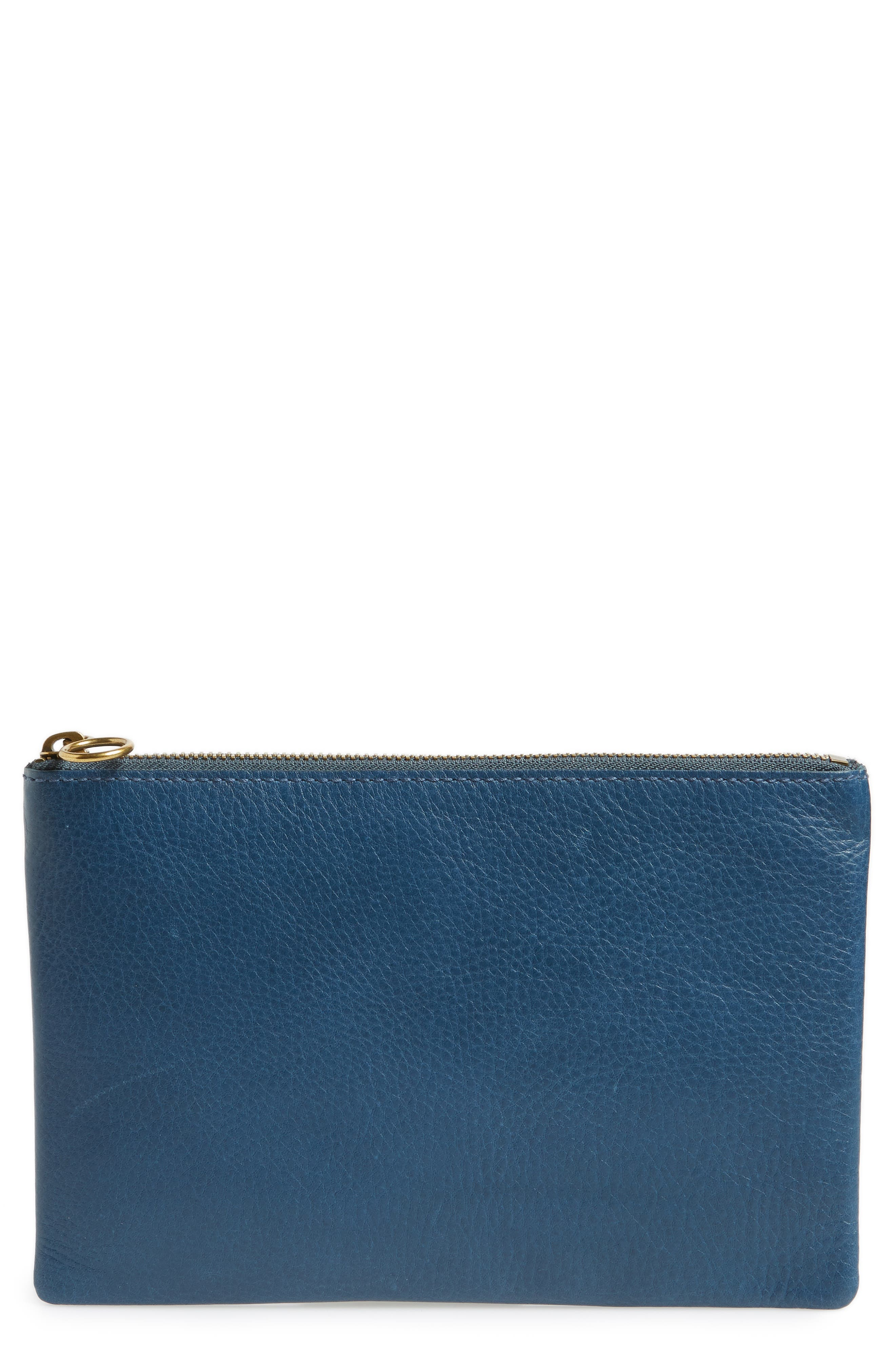 The Leather Pouch Clutch,                         Main,                         color, Blue Hematite