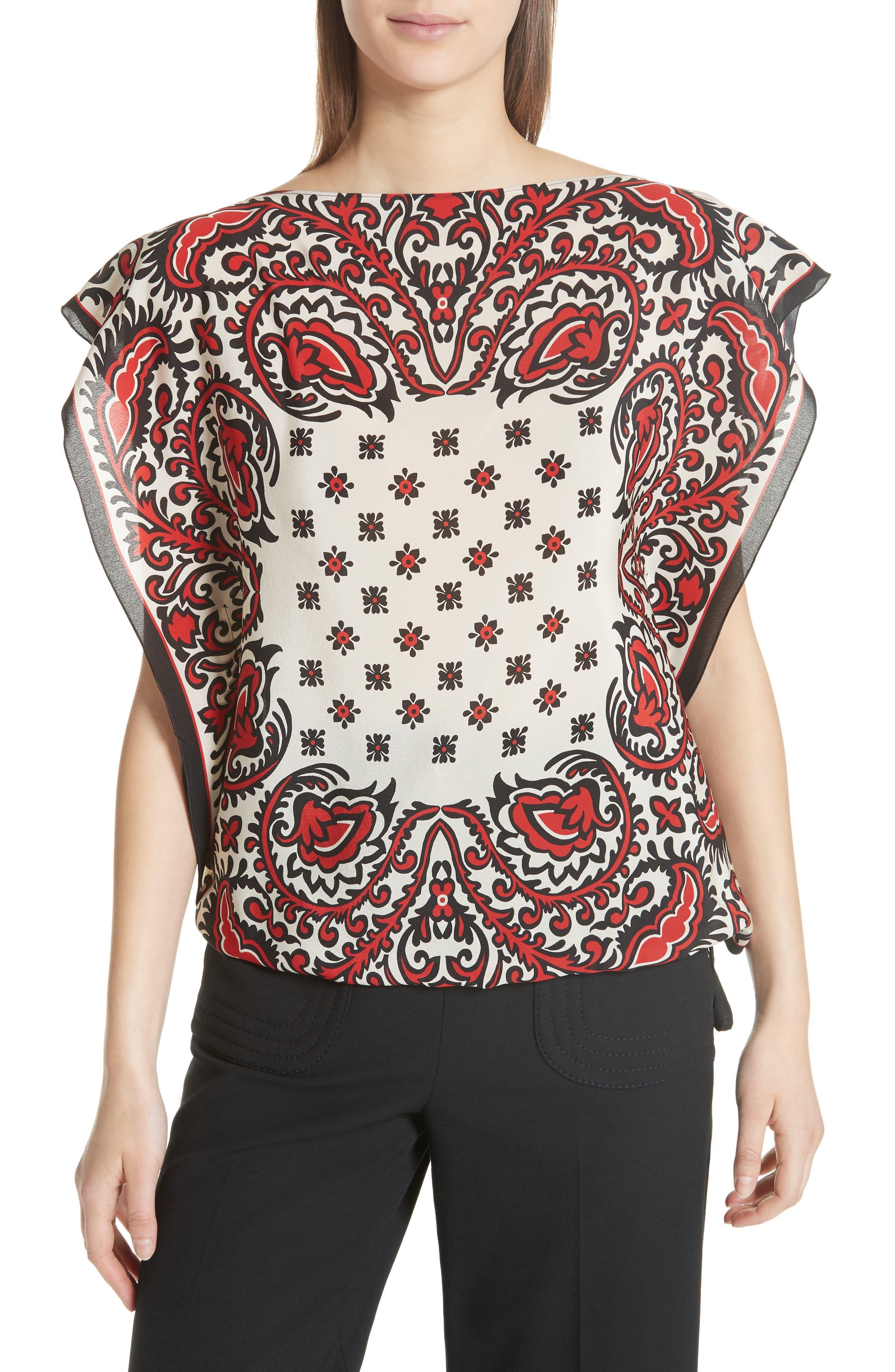 RED Valentino Scarf Print Silk Top