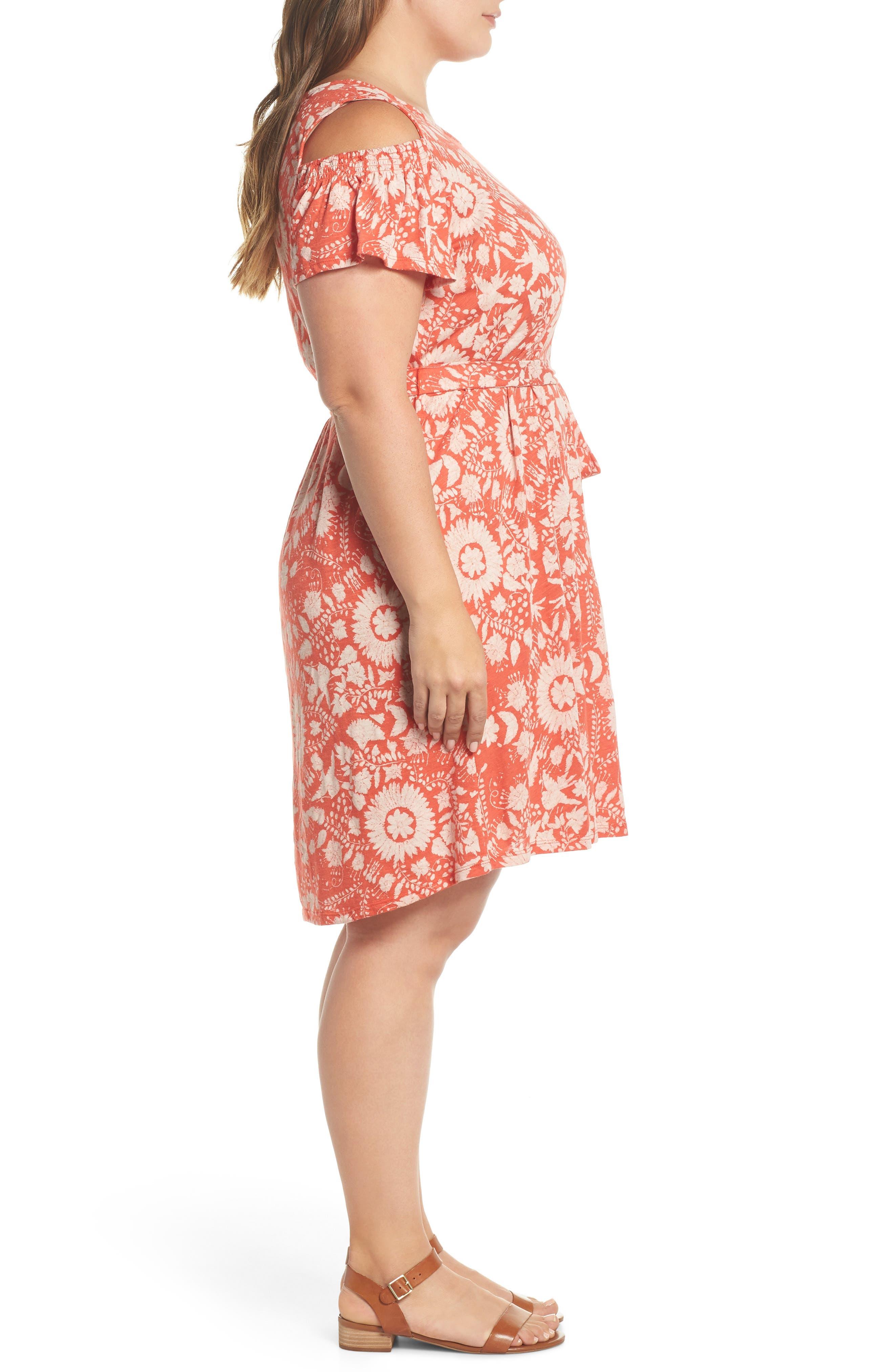 Cold Shoulder Print Belted Dress,                             Alternate thumbnail 3, color,                             Rust Multi