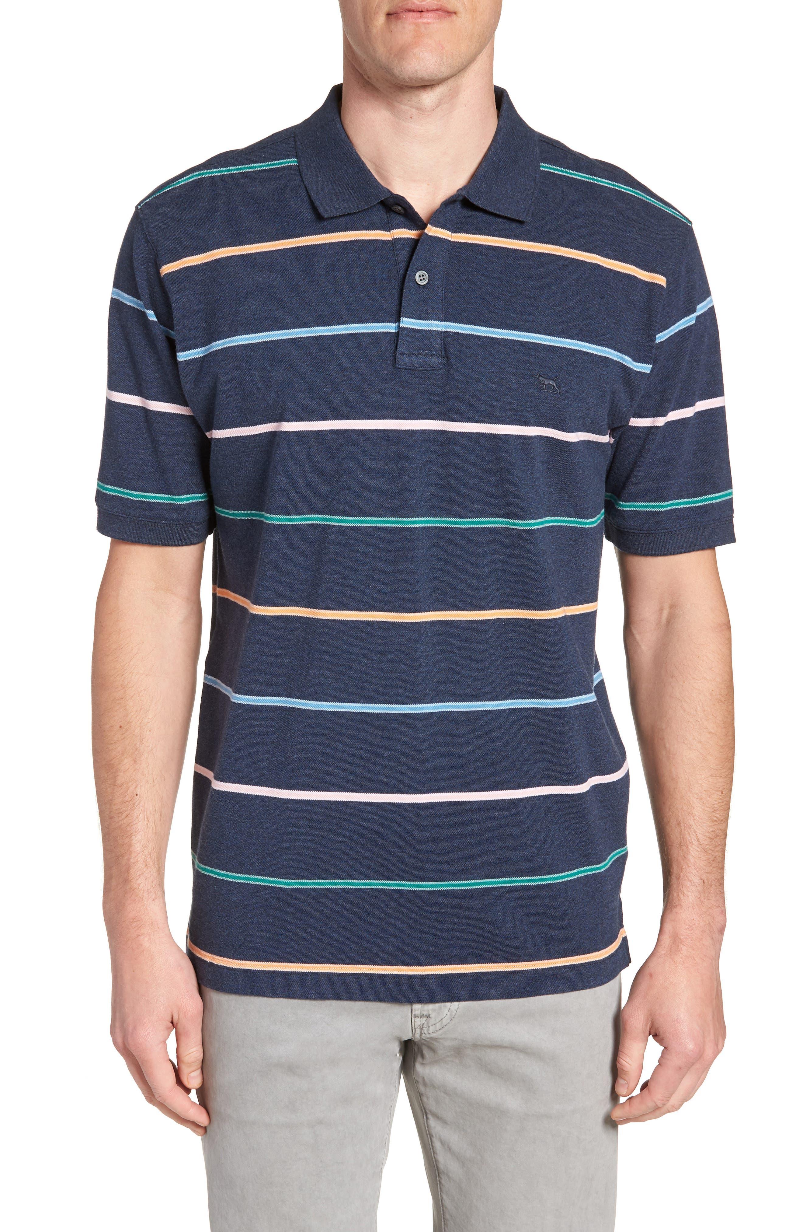Caberfield Regular Fit Stripe Polo,                         Main,                         color, Ocean
