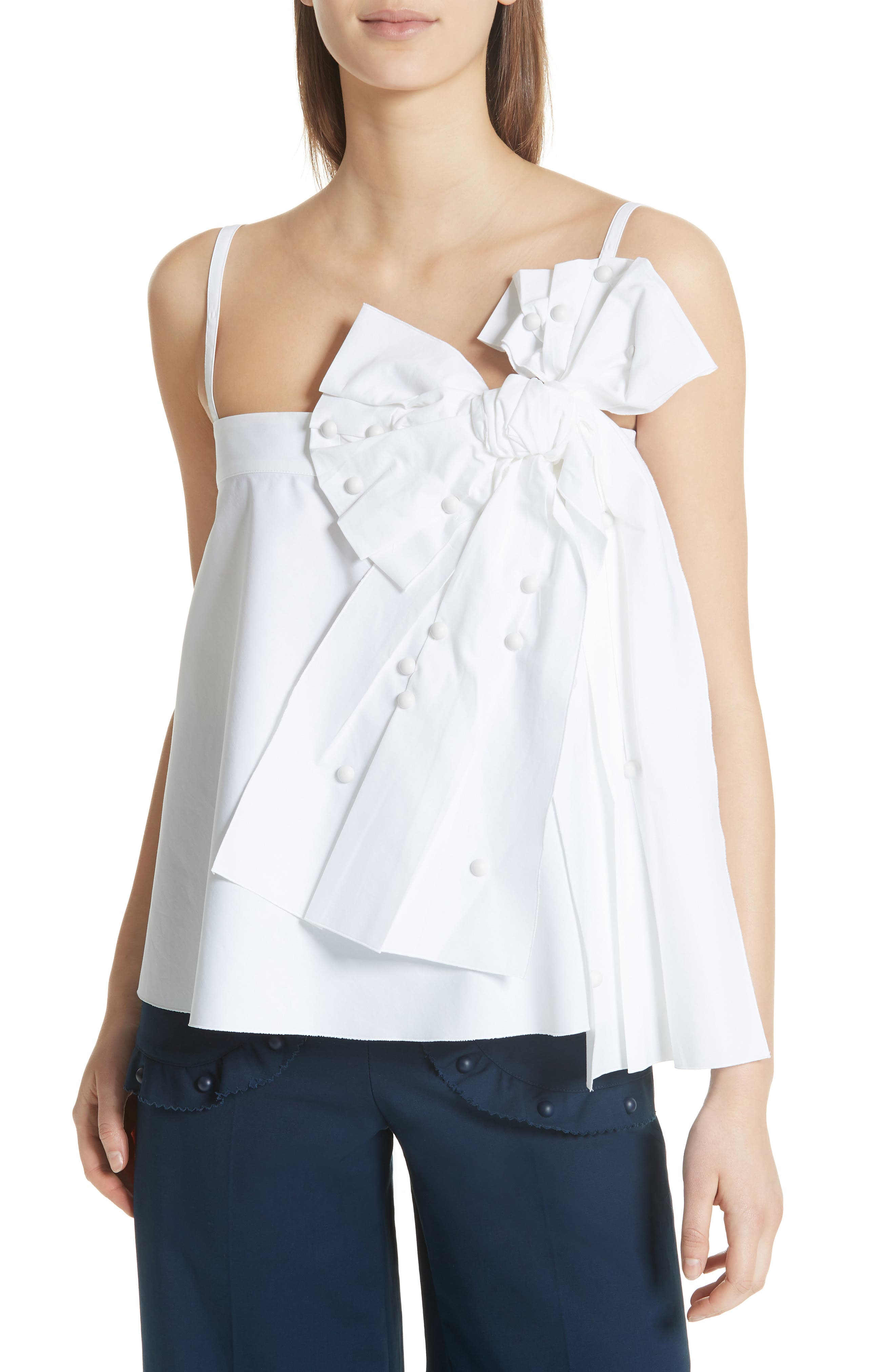 Bow Detail Top,                         Main,                         color, Bianco