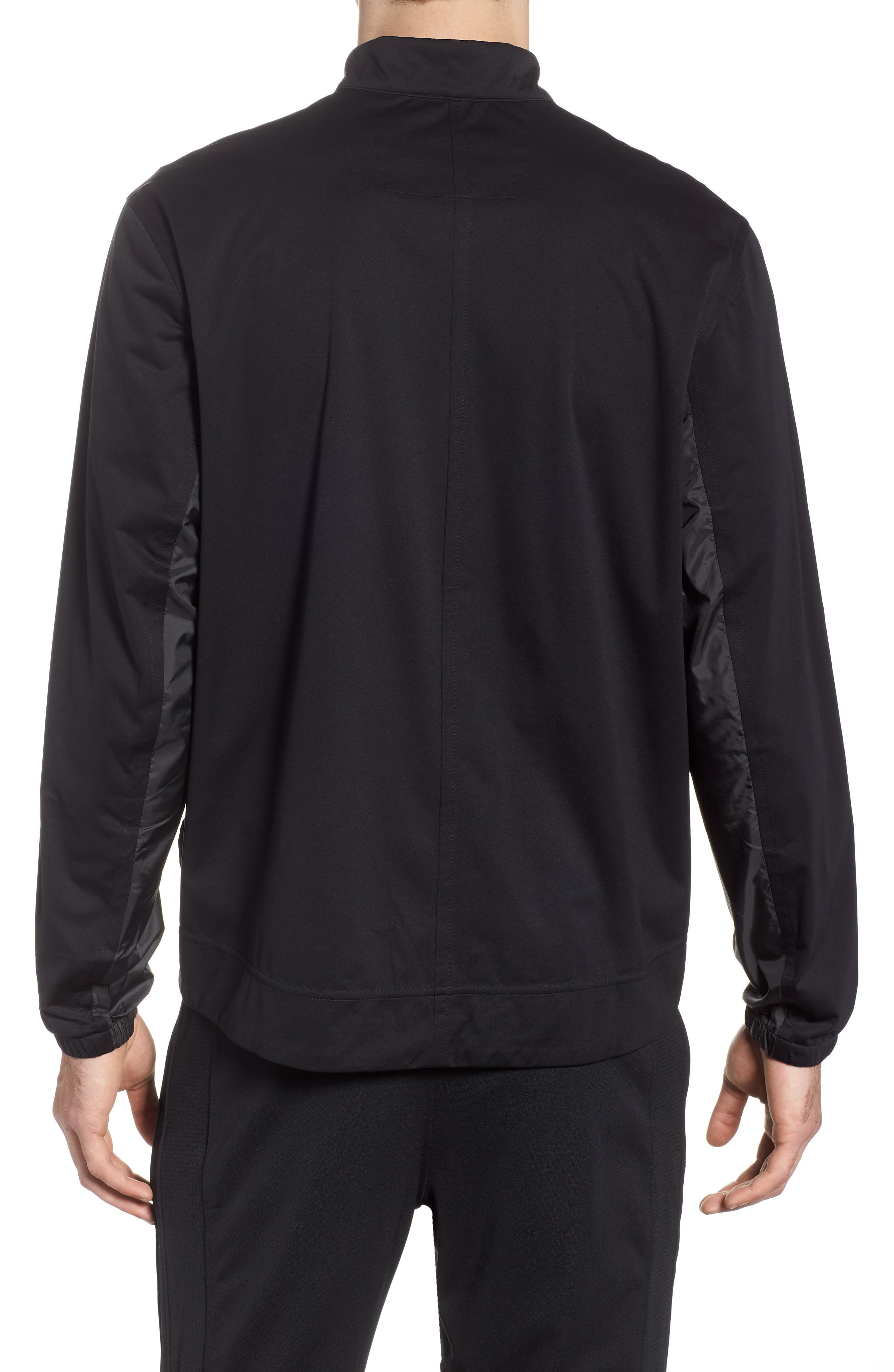 Shield Full Zip Golf Jacket,                             Alternate thumbnail 2, color,                             Black/ Silver
