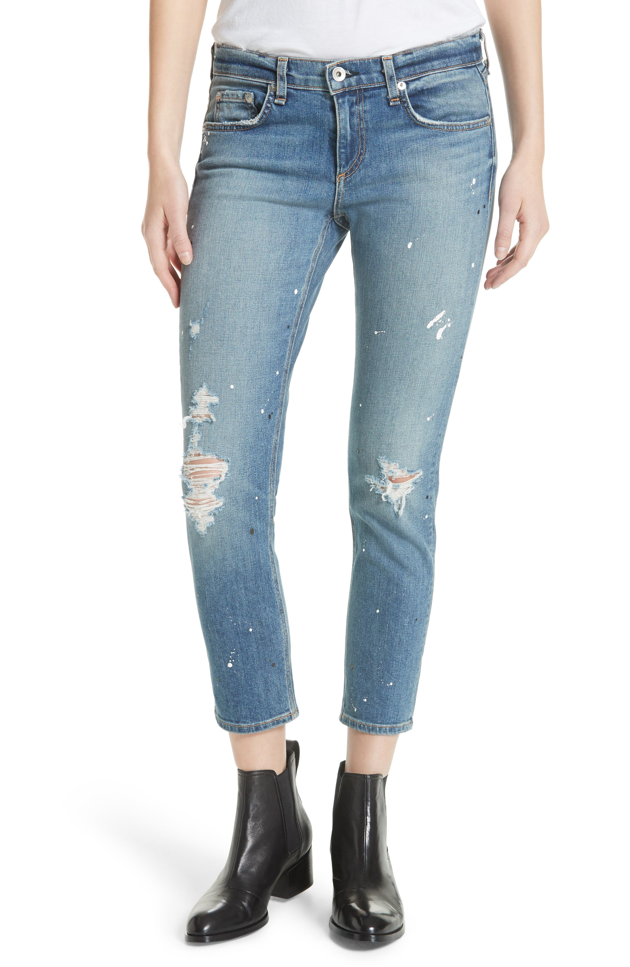 Dre Ripped Ankle Slim Boyfriend Jeans,                             Main thumbnail 1, color,                             Lucky