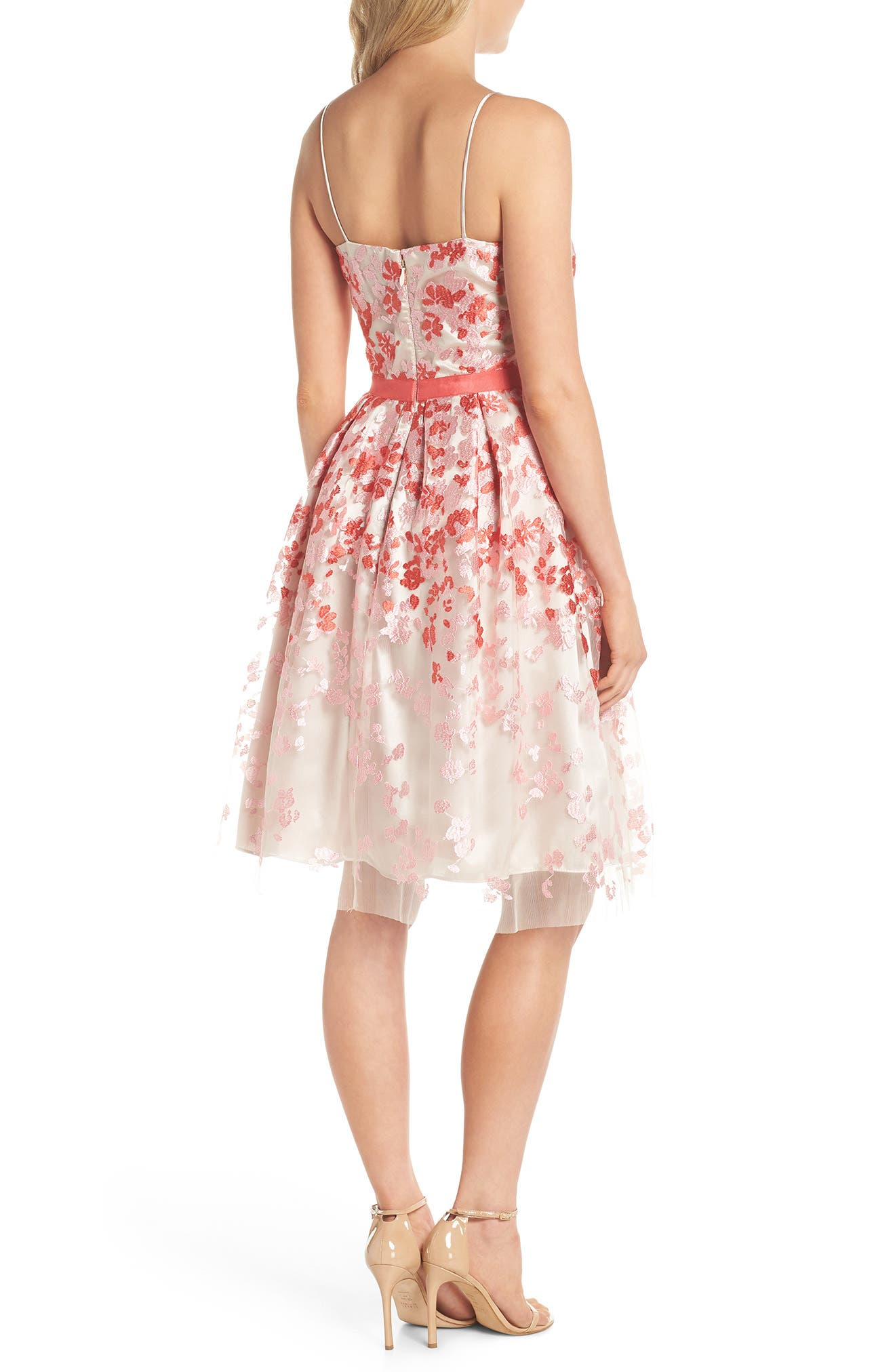 Embroidered Fit & Flare Cocktail Dress,                             Alternate thumbnail 2, color,                             Pink Multi