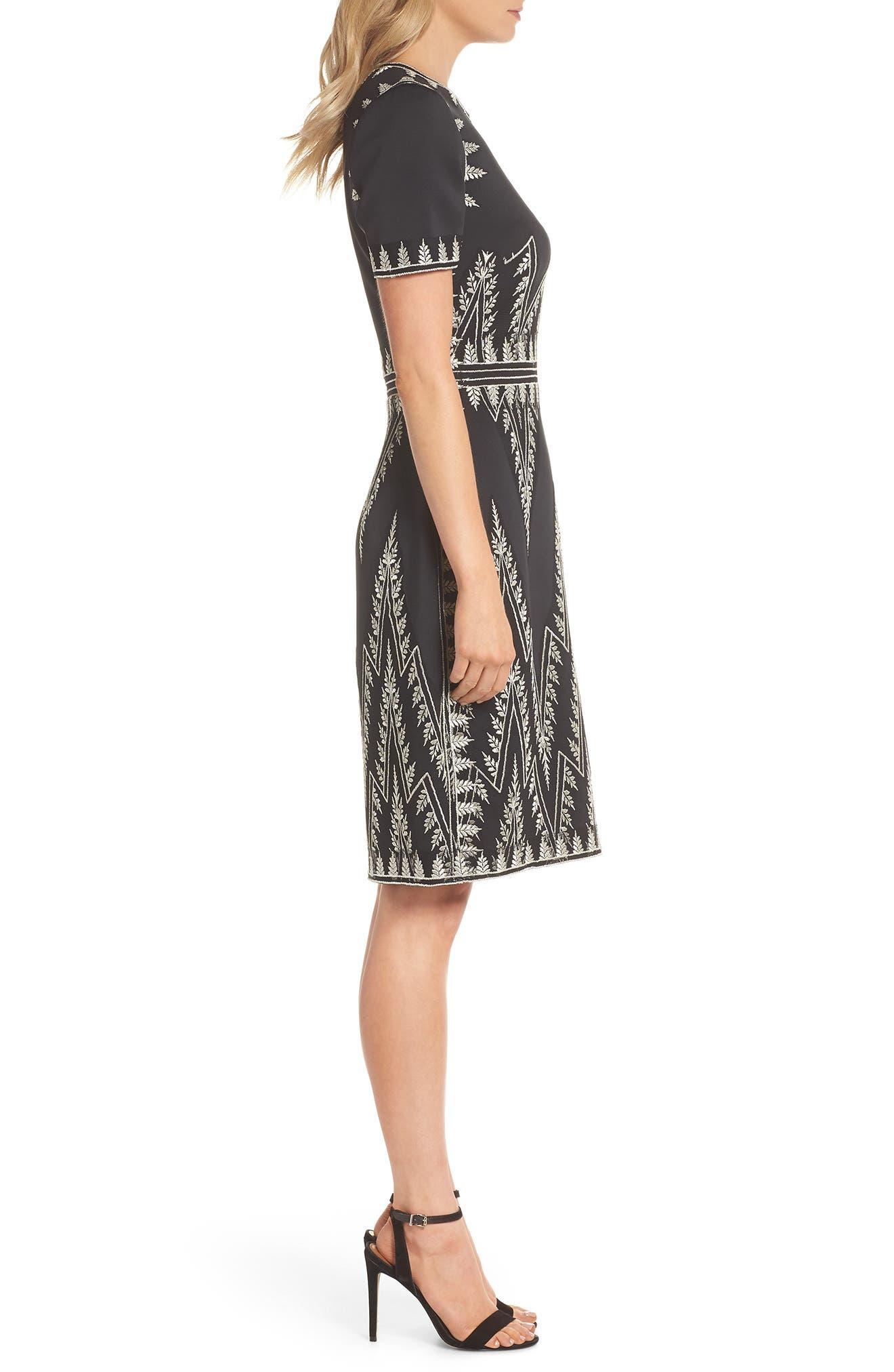 Embroidered Chevron Dress,                             Alternate thumbnail 3, color,                             Black/ Silver