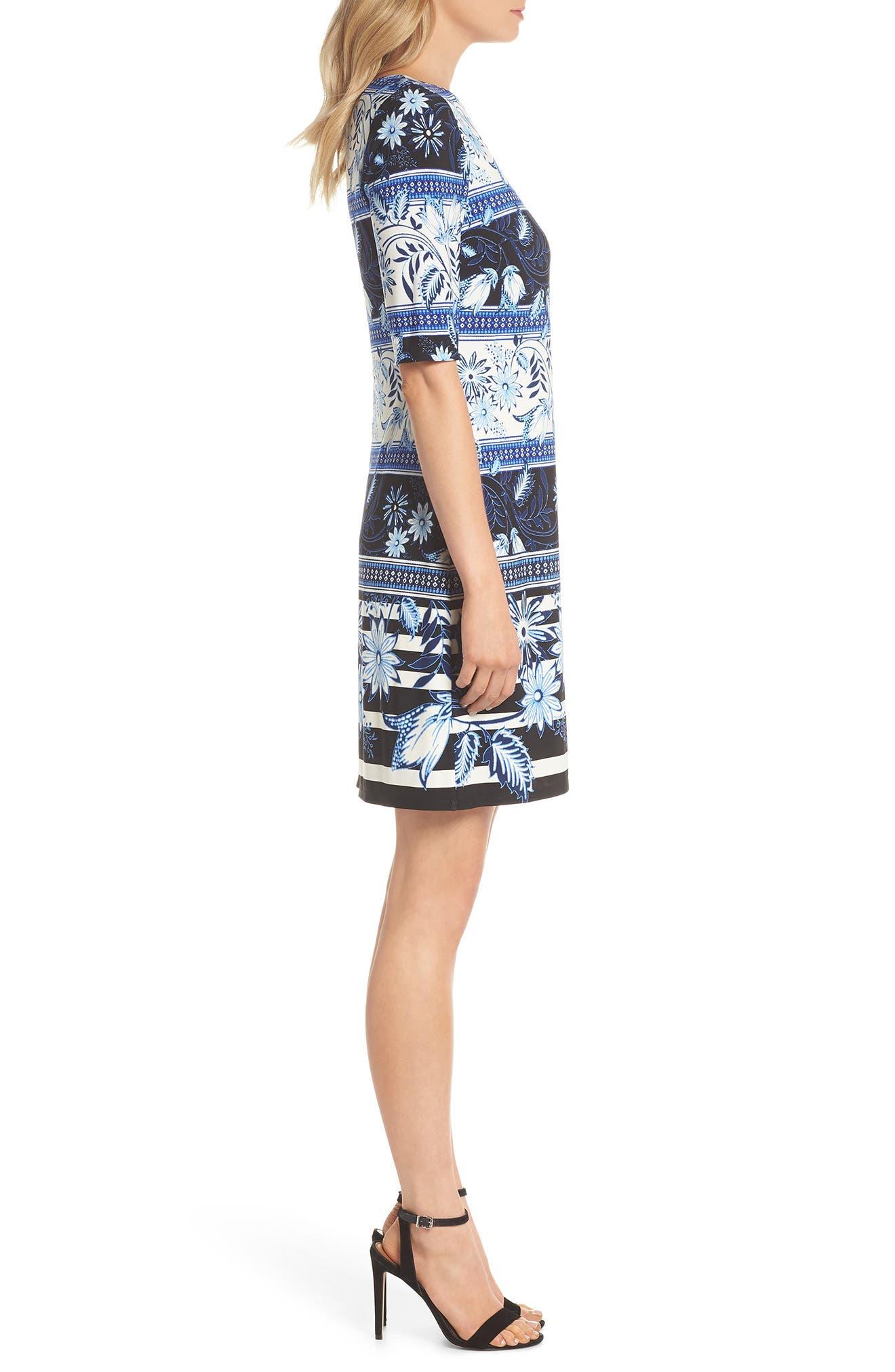 Print Elbow Sleeve Shift Dress,                             Alternate thumbnail 3, color,                             Navy