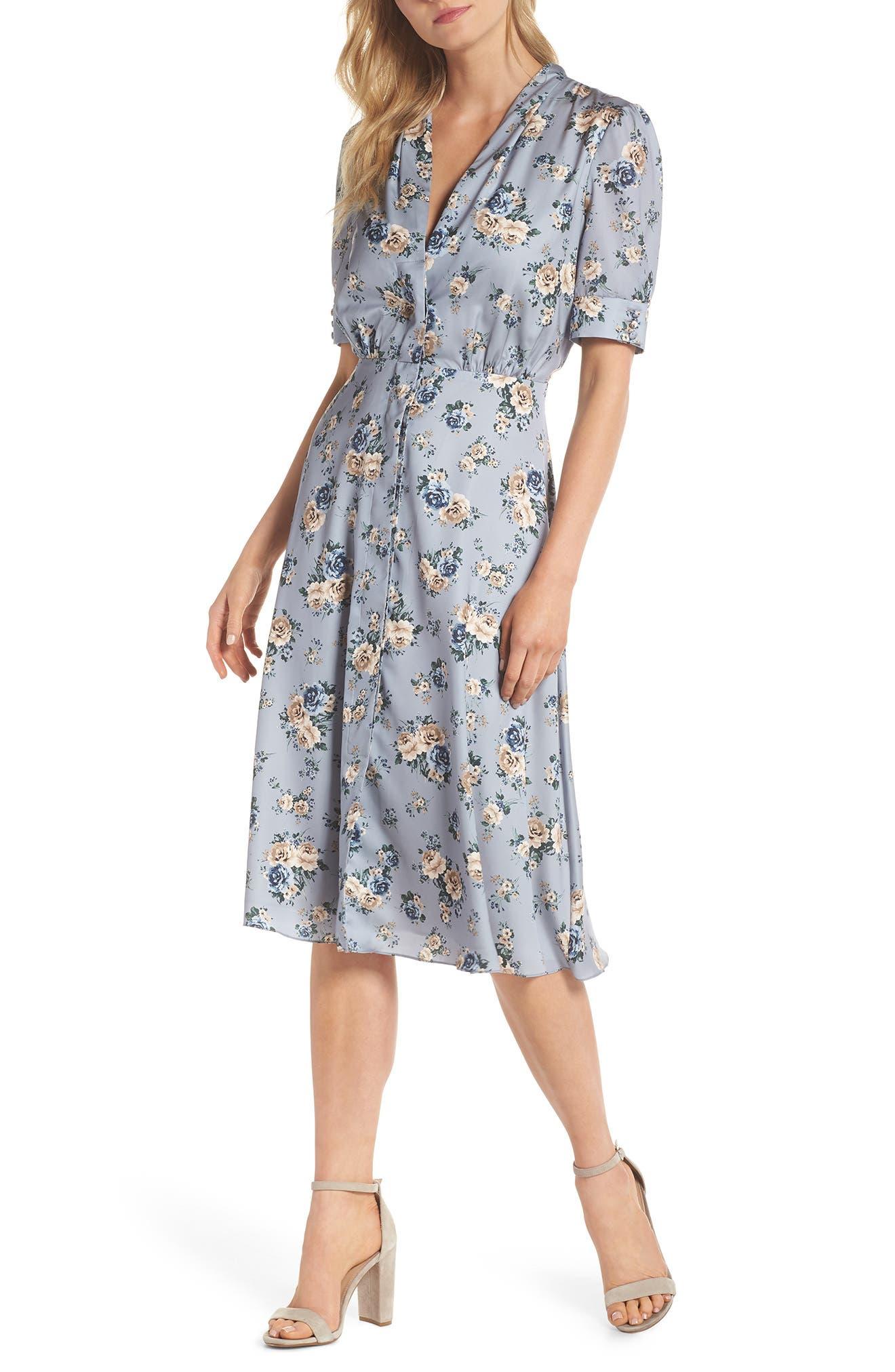 Gemma Floral Print A-Line Dress,                         Main,                         color, Slate Blue/ Cadet Blue