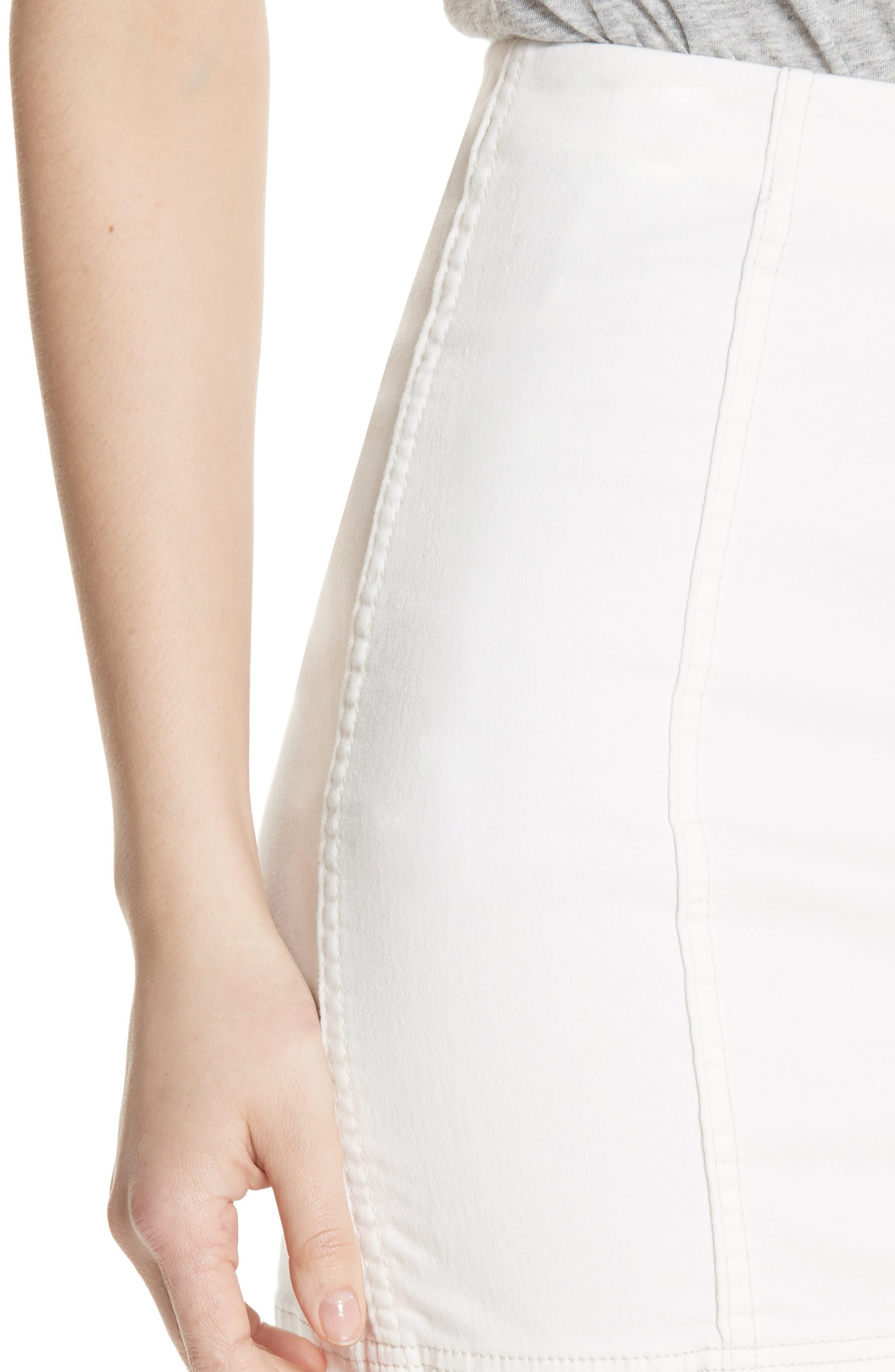 Modern Femme Denim Skirt,                             Alternate thumbnail 4, color,                             White