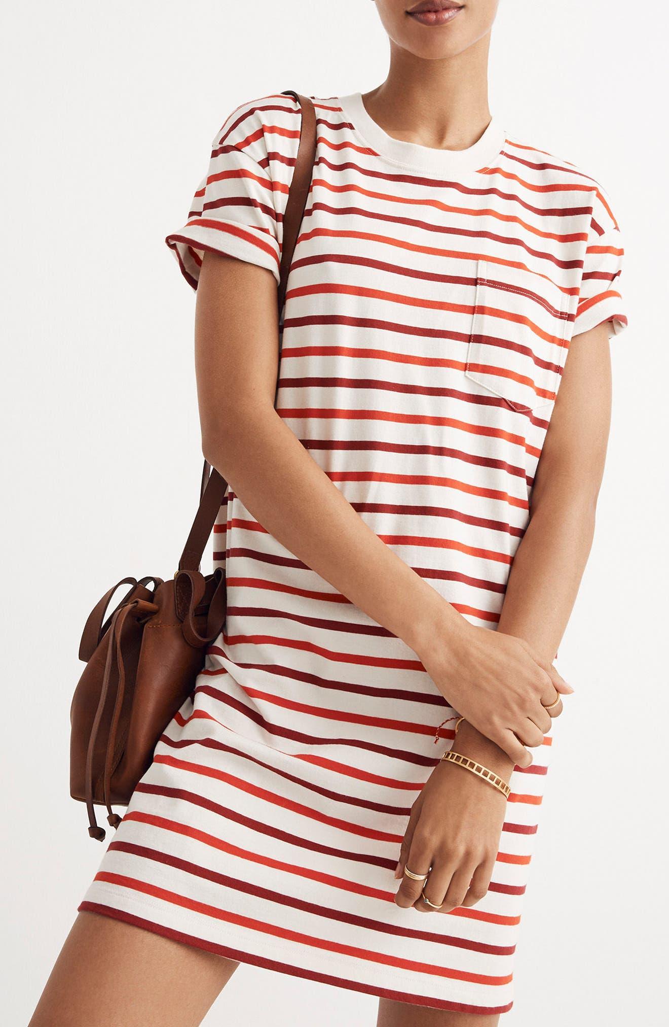 Stripe Pocket T-Shirt Dress,                             Alternate thumbnail 3, color,                             Ripe Persimmon