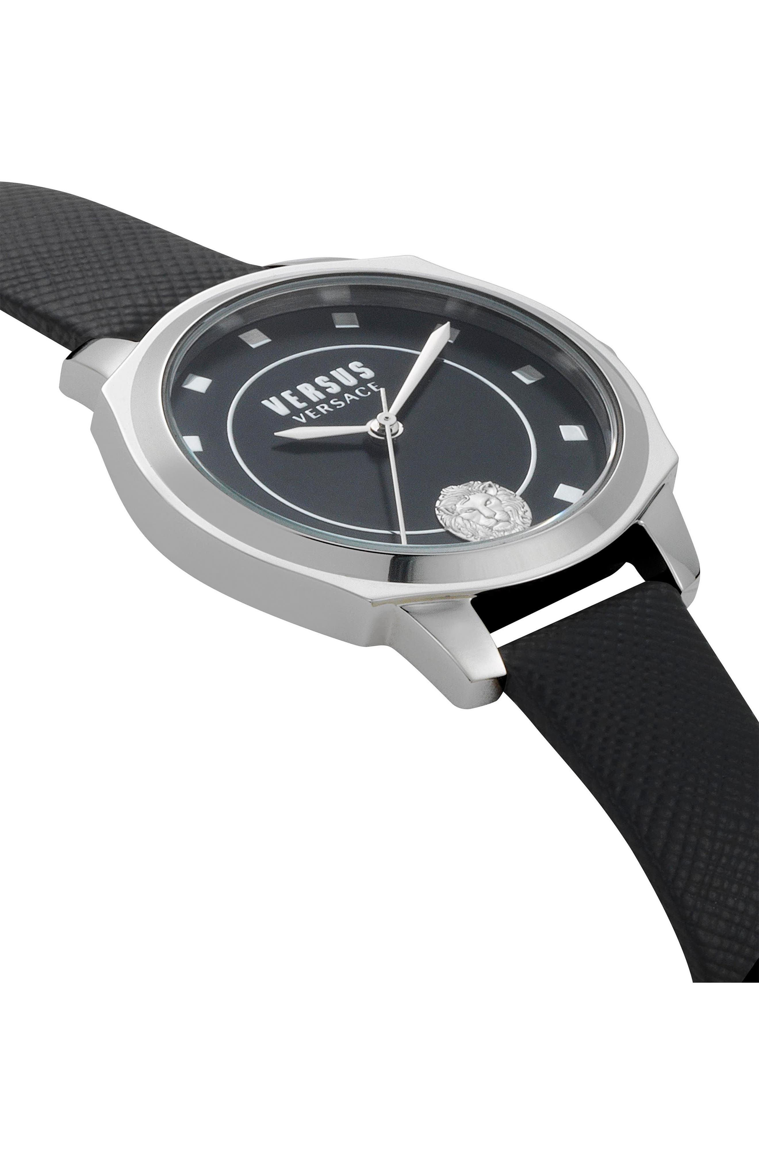 VERSUS by Versace Chelsea Leather Strap Watch, 34mm,                             Alternate thumbnail 3, color,                             Black/ Silver