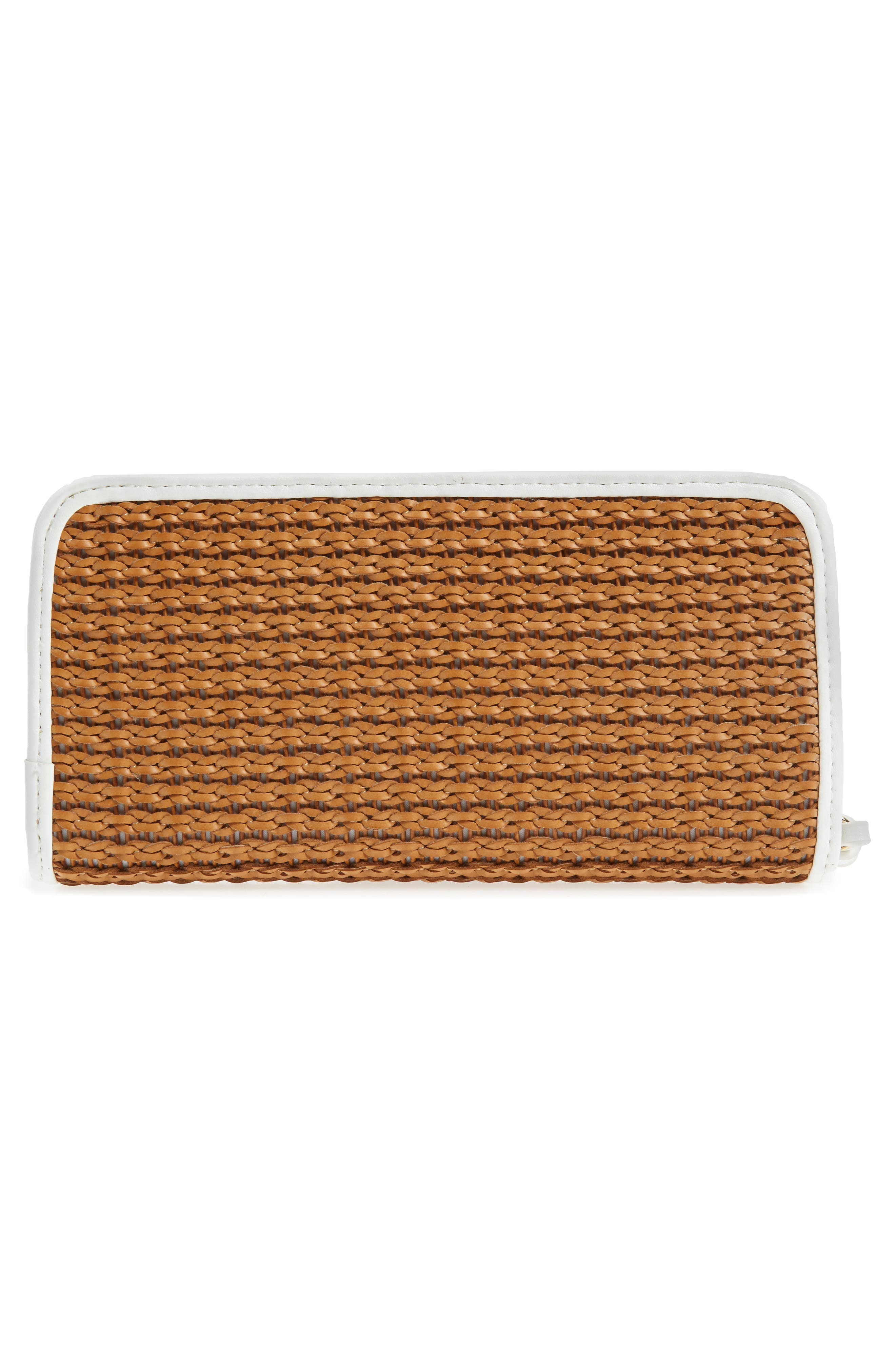 Mali + Lili Kyla Honor Basket Weave Wallet,                             Alternate thumbnail 3, color,                             Camel