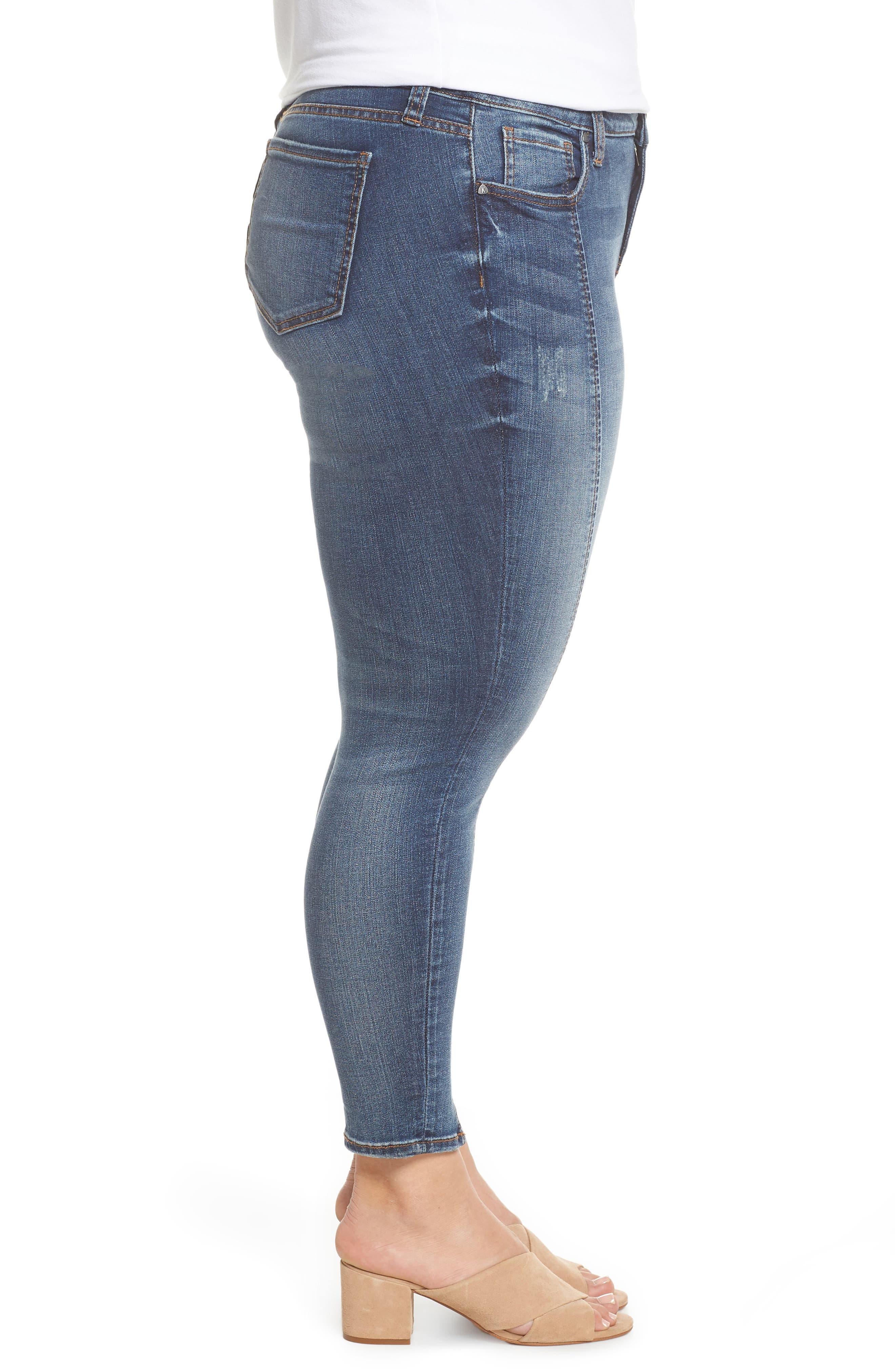 Reese Seam Ankle Skinny Jeans,                             Alternate thumbnail 4, color,                             Poetic