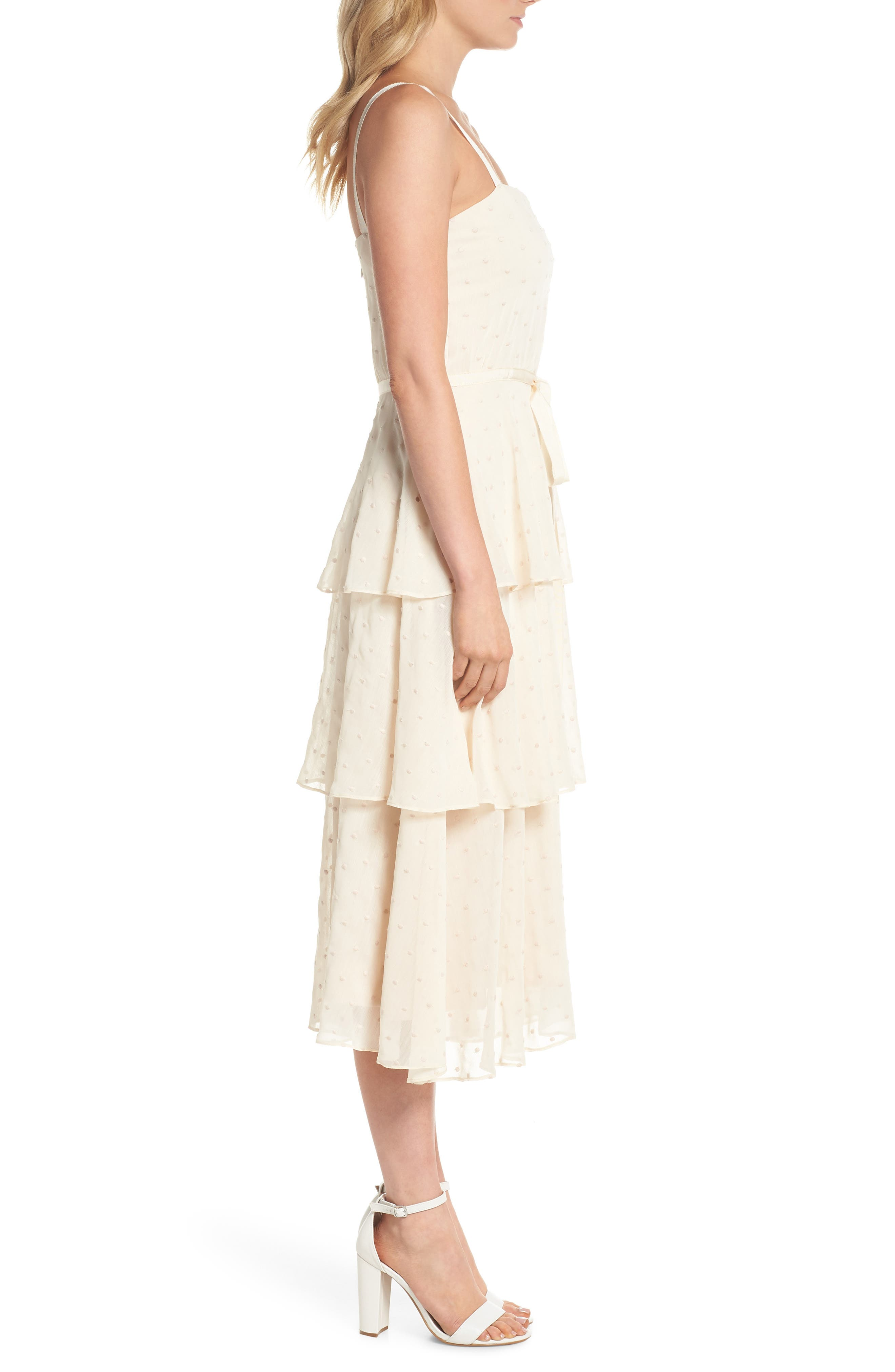 Florence Chiffon Embroidered Tiered A-Line Dress,                             Alternate thumbnail 3, color,                             Bisque