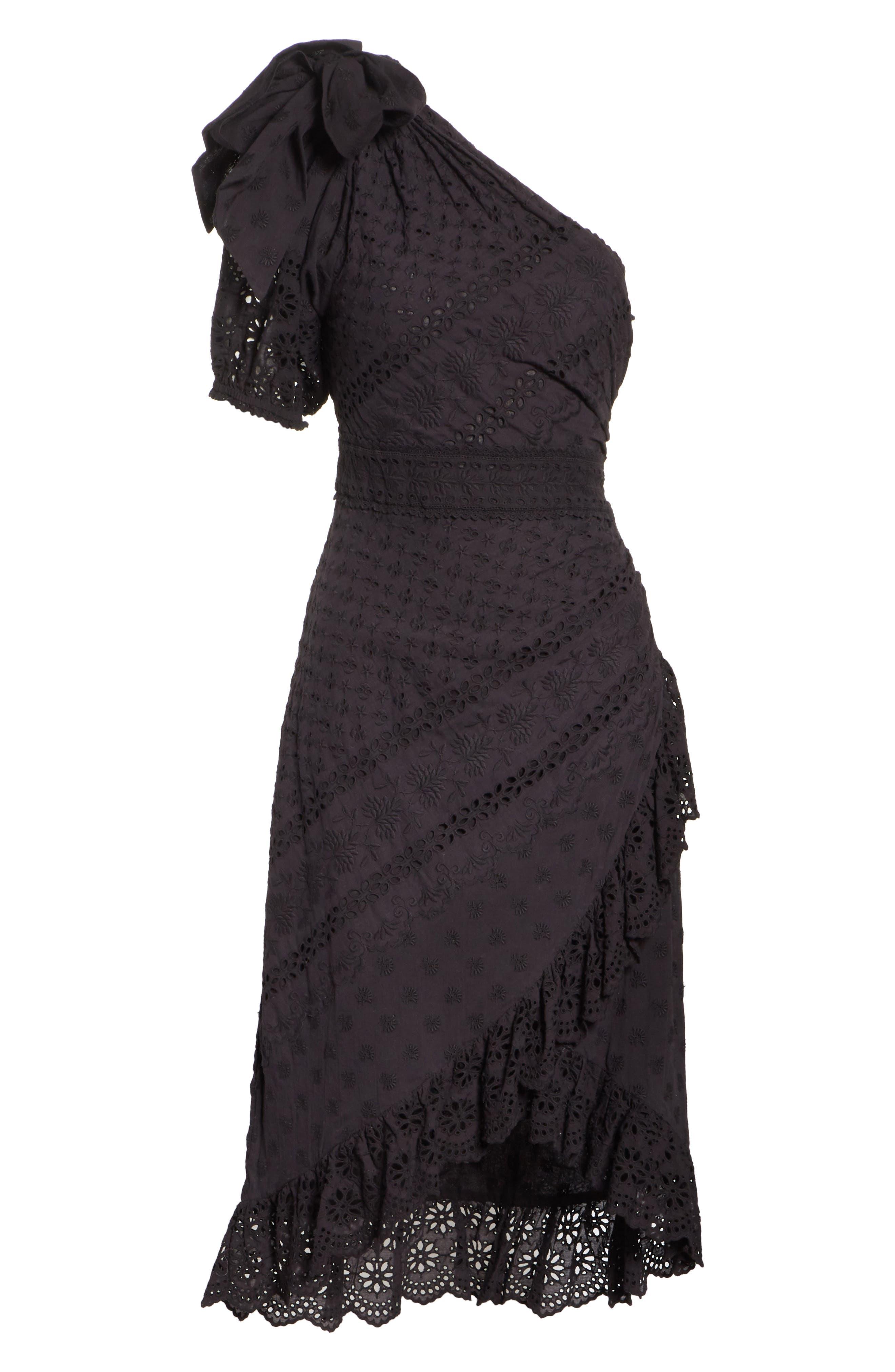 Gweneth One-Shoulder Dress,                             Alternate thumbnail 6, color,                             Noir
