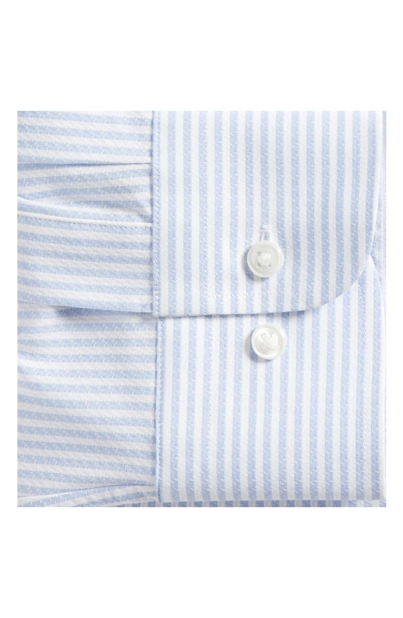 Tech-Smart Trim Fit Stripe Stretch Dress Shirt,                             Alternate thumbnail 5, color,                             Blue Brunnera