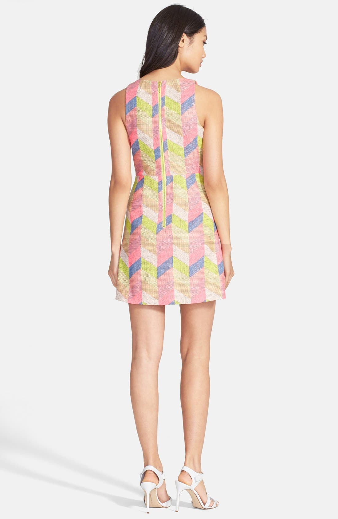 Chevron Jacquard Shift Dress,                             Alternate thumbnail 2, color,                             Multi