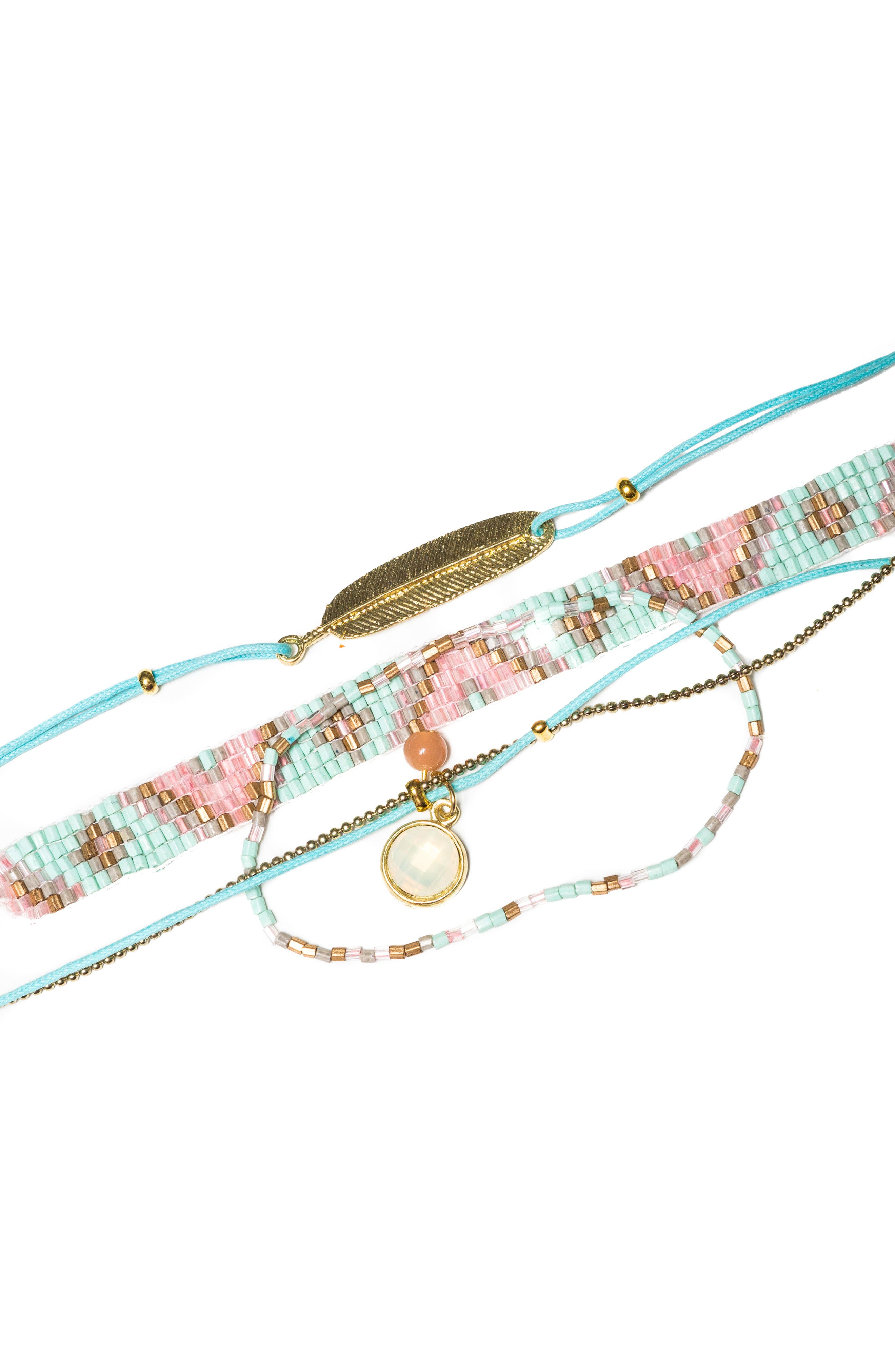 Set of 4 Bead & Charm Bracelets,                             Main thumbnail 1, color,                             Pink/ Turquoise/ Amber