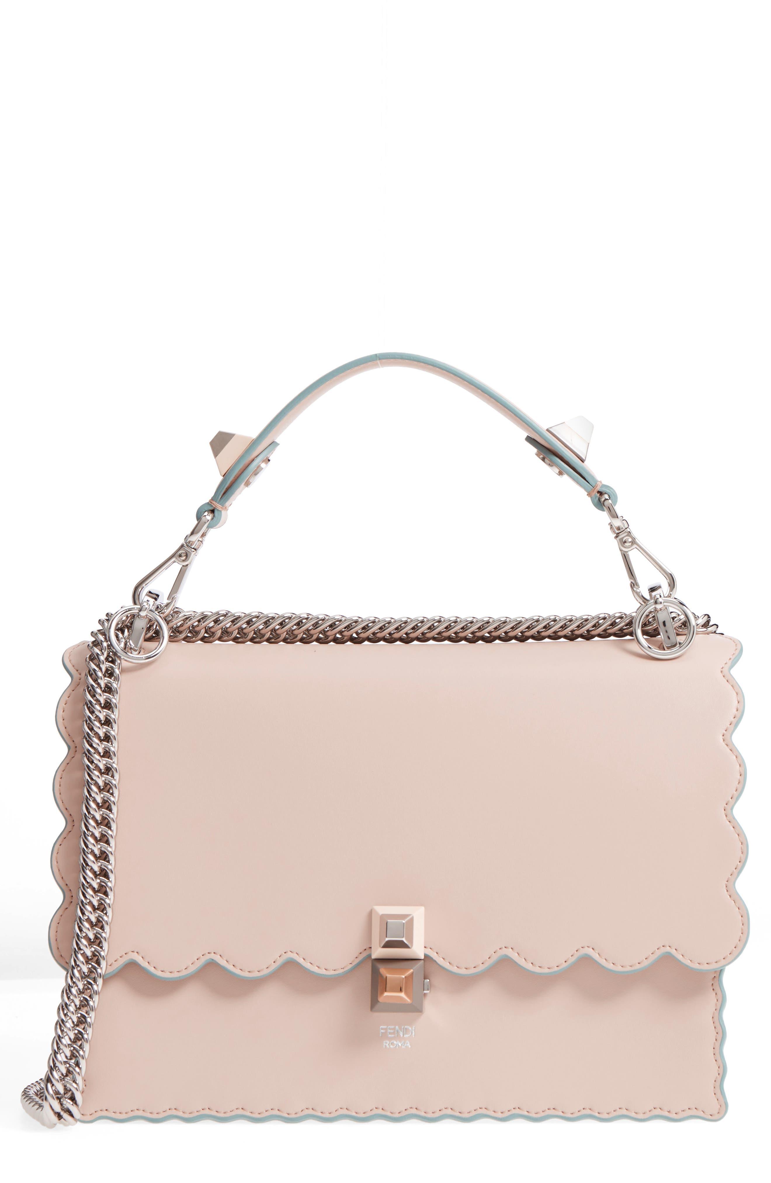 Kan I Scallop Leather Shoulder Bag,                             Main thumbnail 1, color,                             Soap/ Palladio