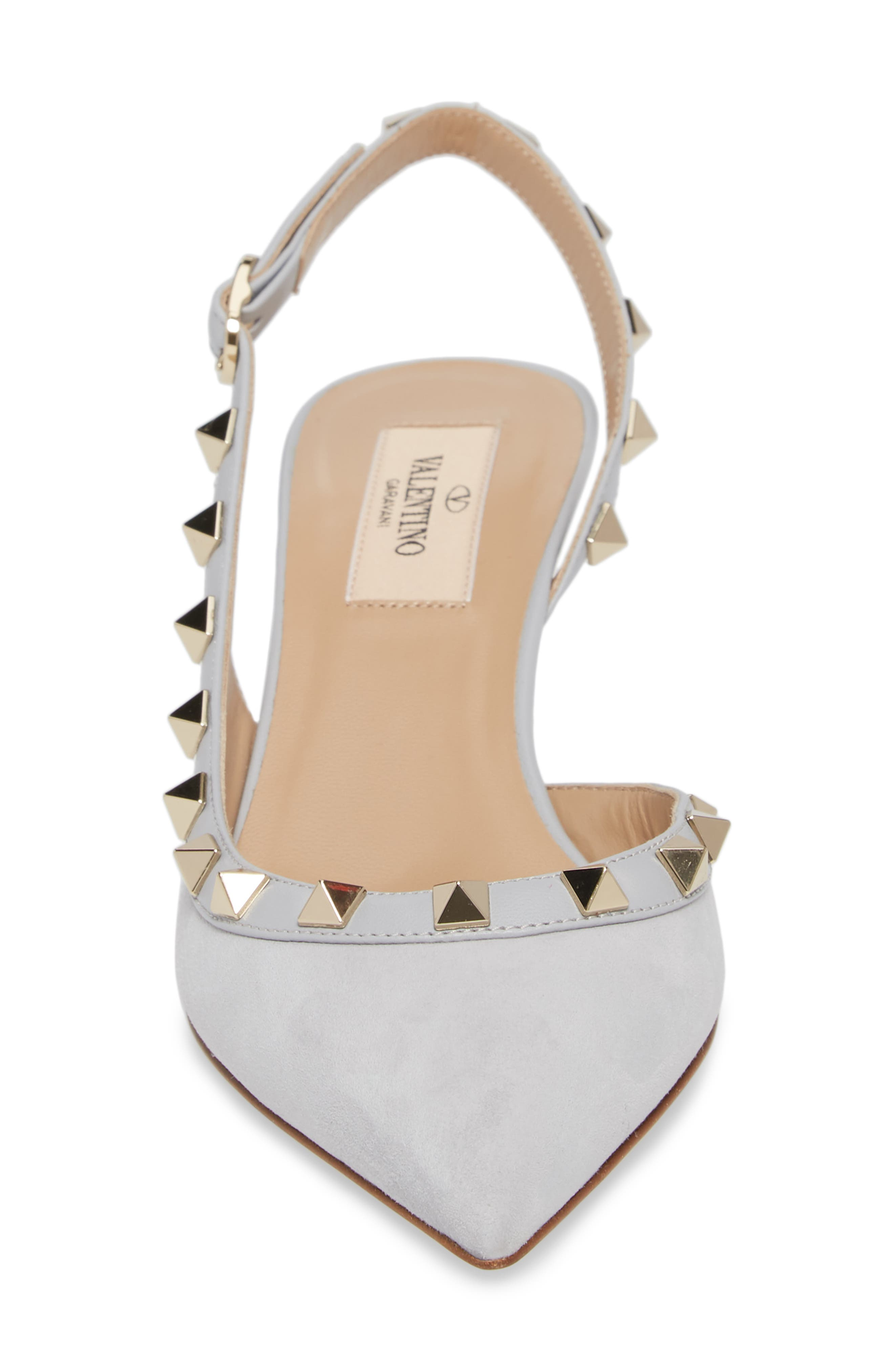 Rockstud Slingback Pump,                             Alternate thumbnail 4, color,                             Pastel Grey Suede
