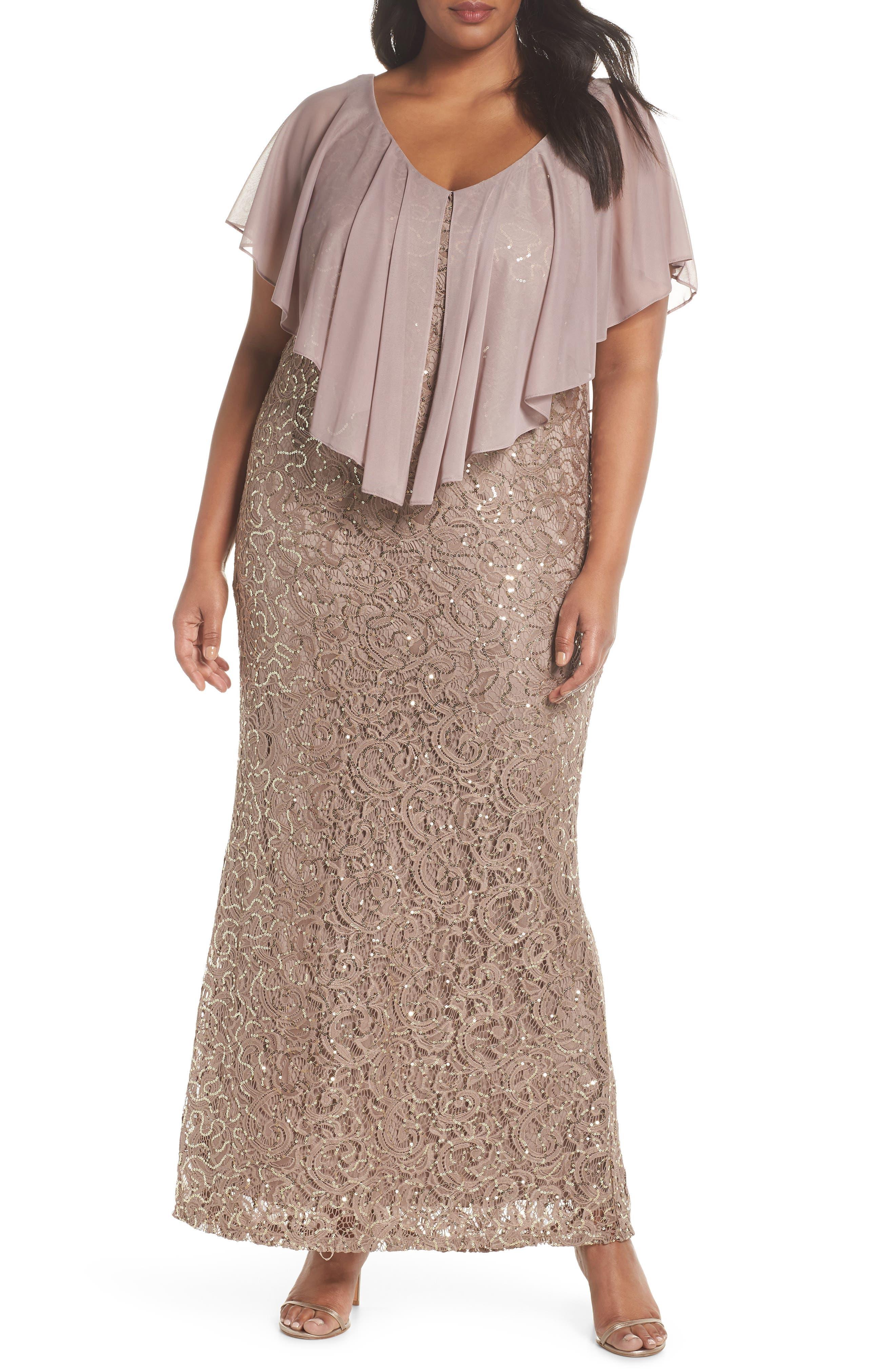 Capelet Sequin Lace A-Line Gown,                             Main thumbnail 1, color,                             Mocha