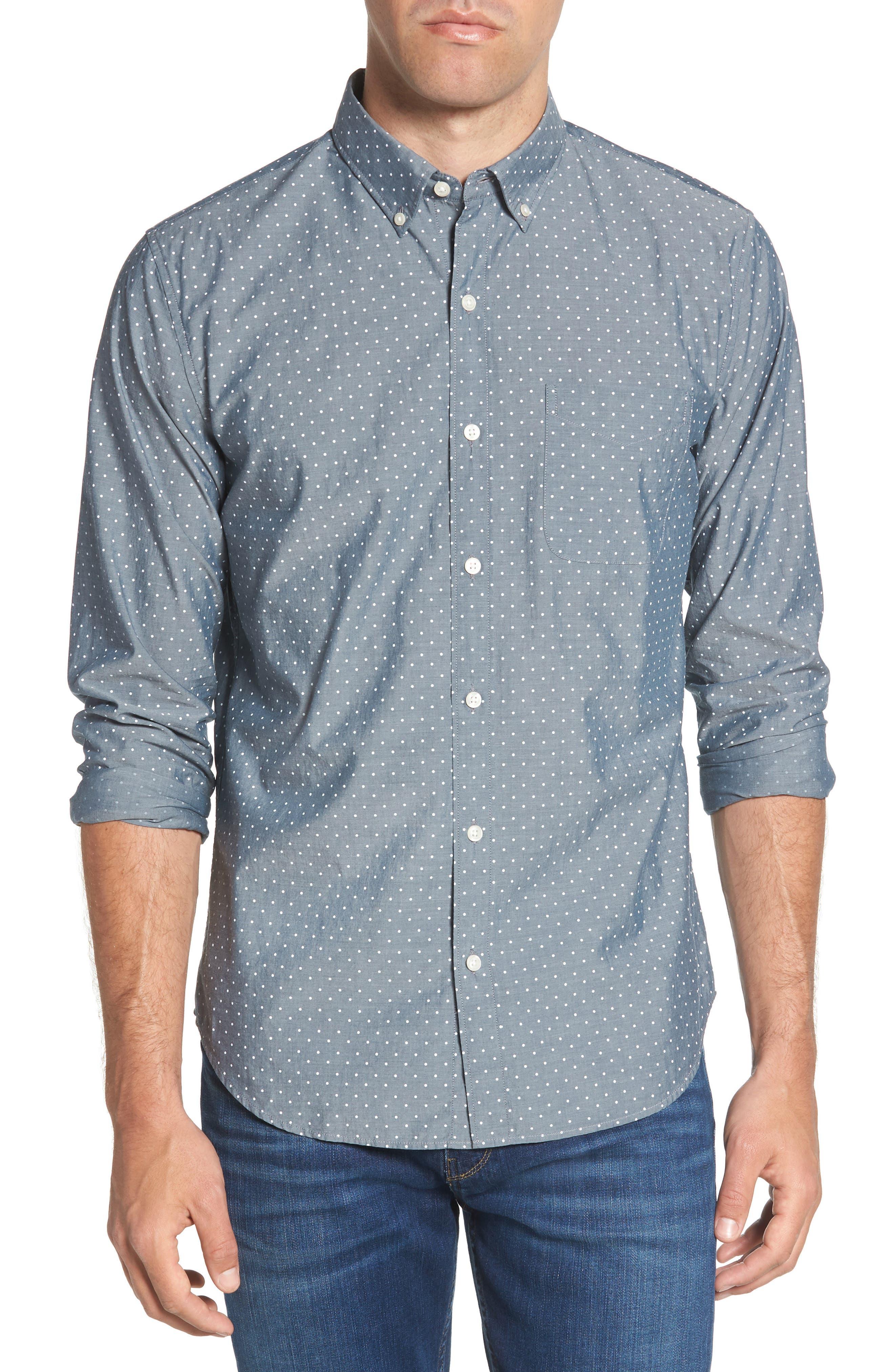 Summerweight Slim Fit Dot Sport Shirt,                             Main thumbnail 1, color,                             Salt Pond Dot - Lakefront