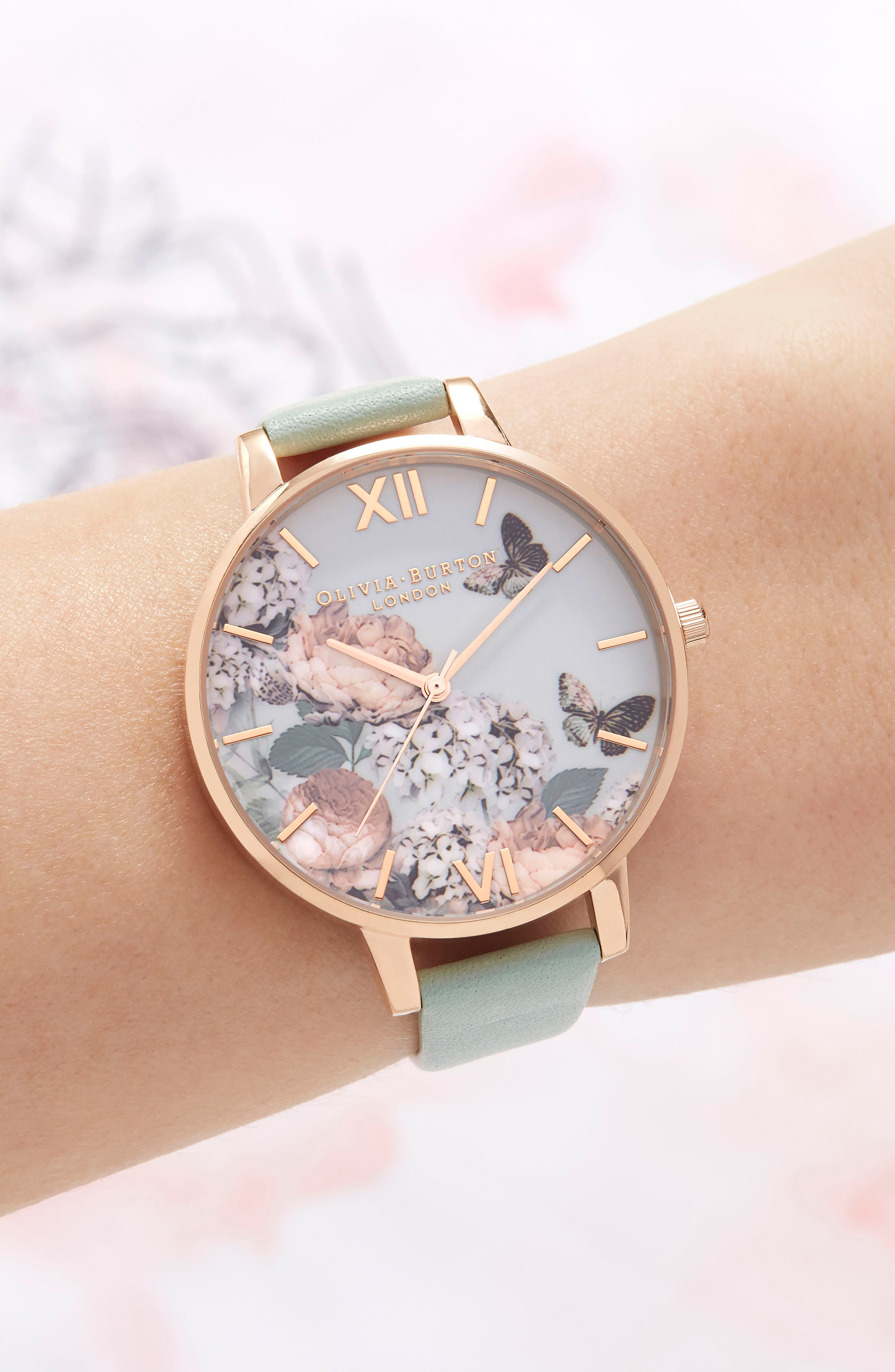 Enchanted Garden Leather Strap Watch, 38mm,                             Alternate thumbnail 2, color,                             Mint/ Floral/ Rose Gold