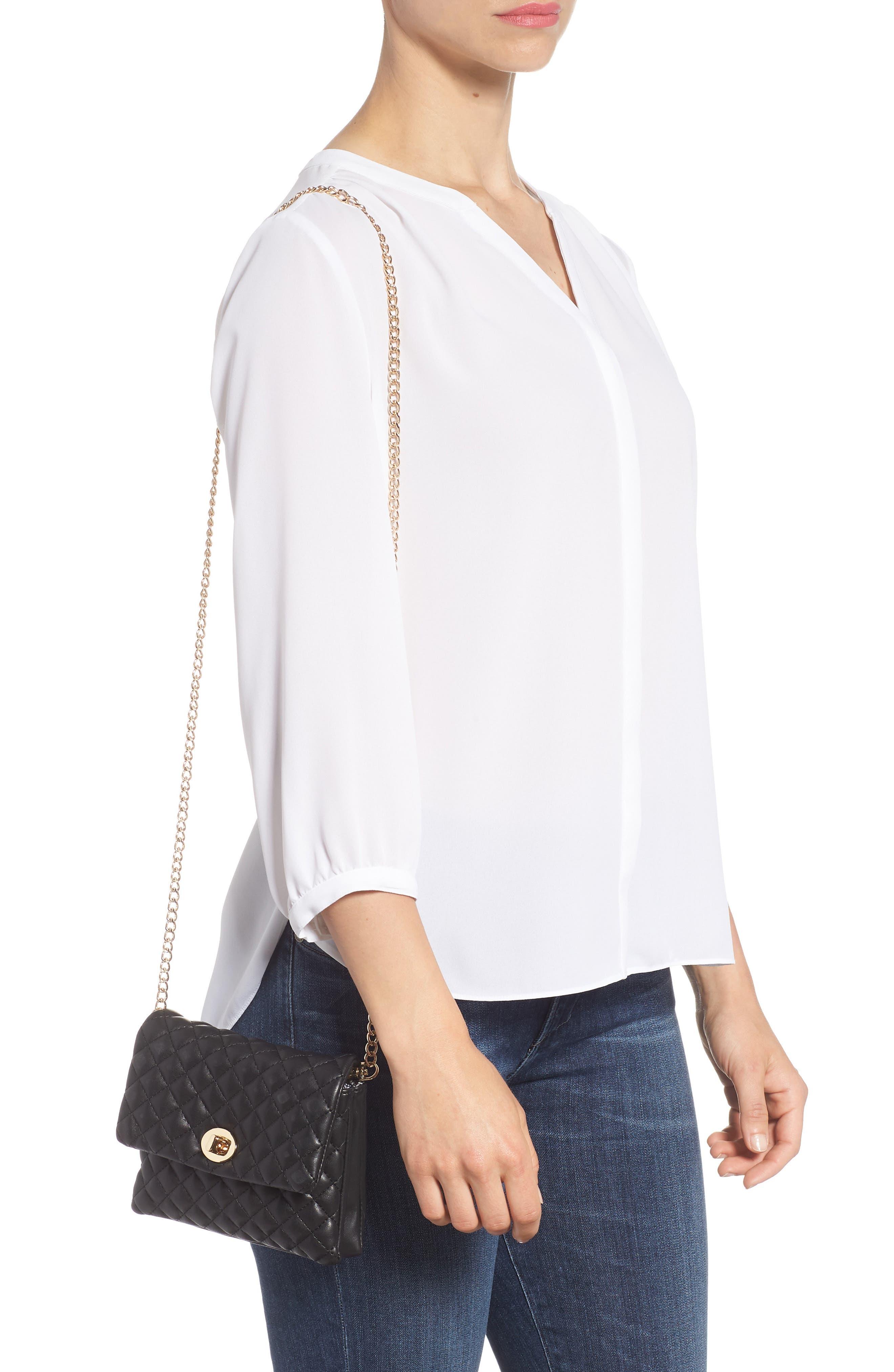 Mali + Lili Quilted Vegan Leather Convertible Belt Bag,                             Alternate thumbnail 9, color,                             Black