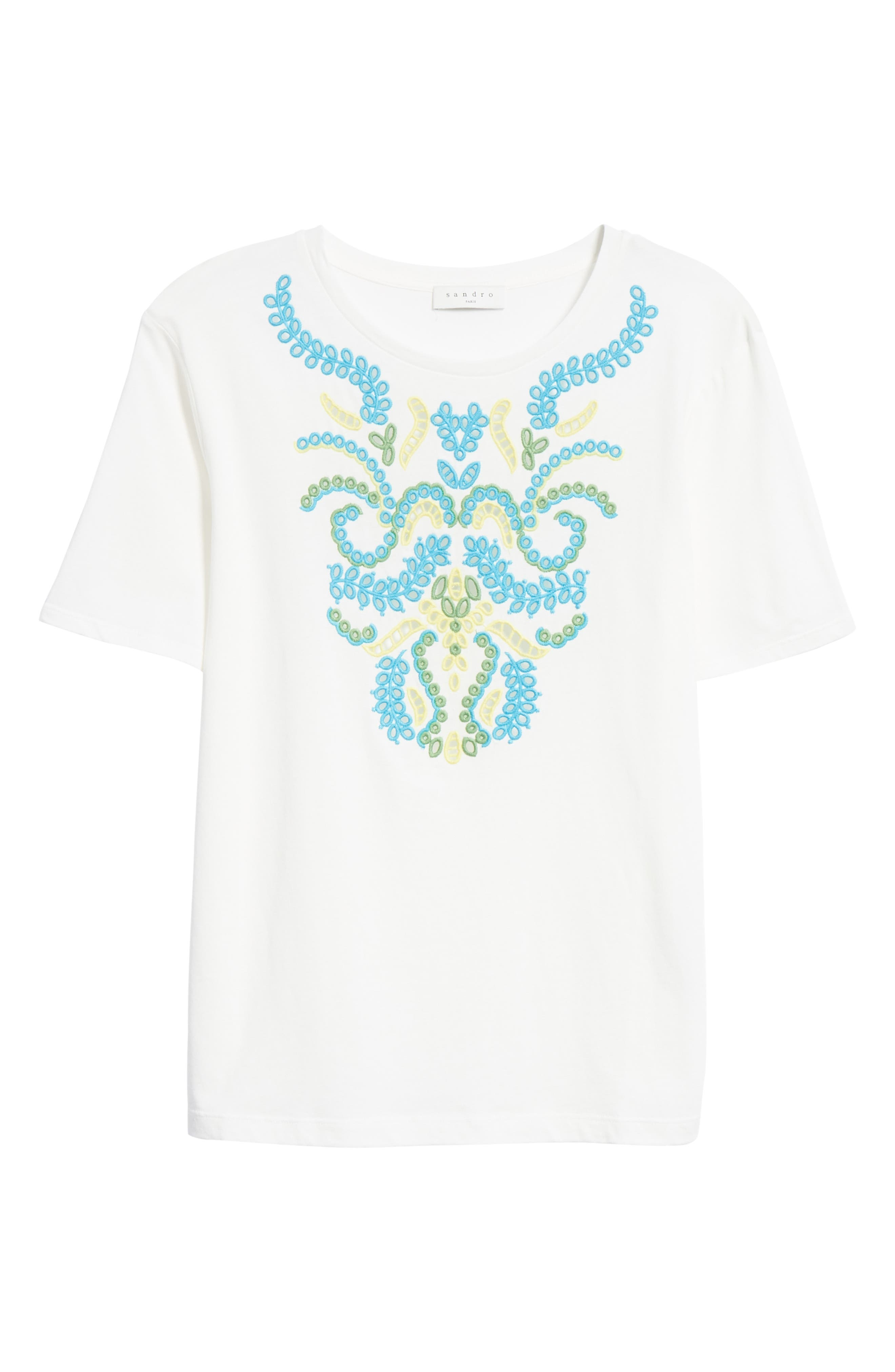 Embroidery Cotton Blend Tee,                             Alternate thumbnail 6, color,                             Blanc