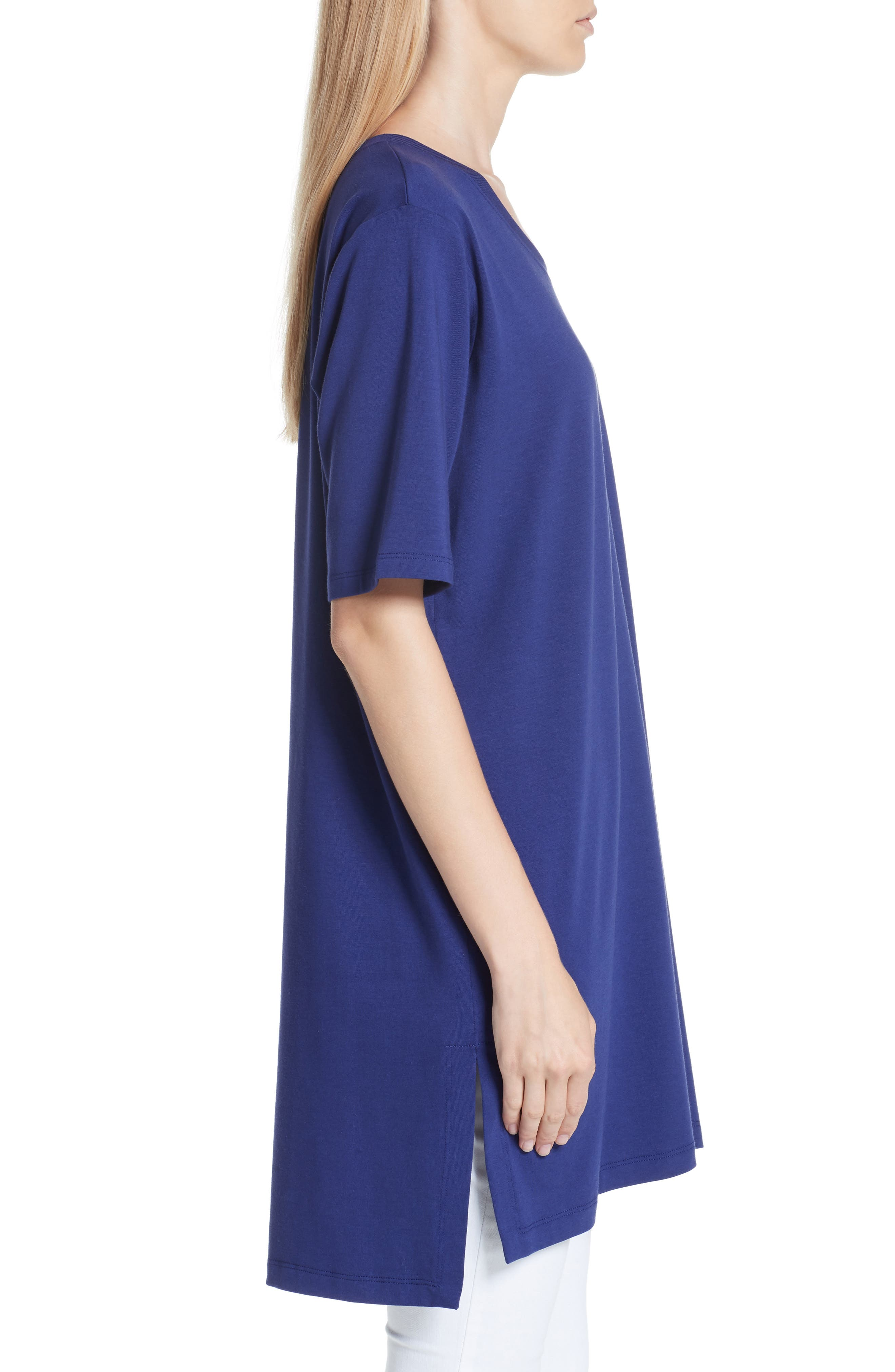 Stretch Organic Cotton Jersey Tunic,                             Alternate thumbnail 3, color,                             Sapphire