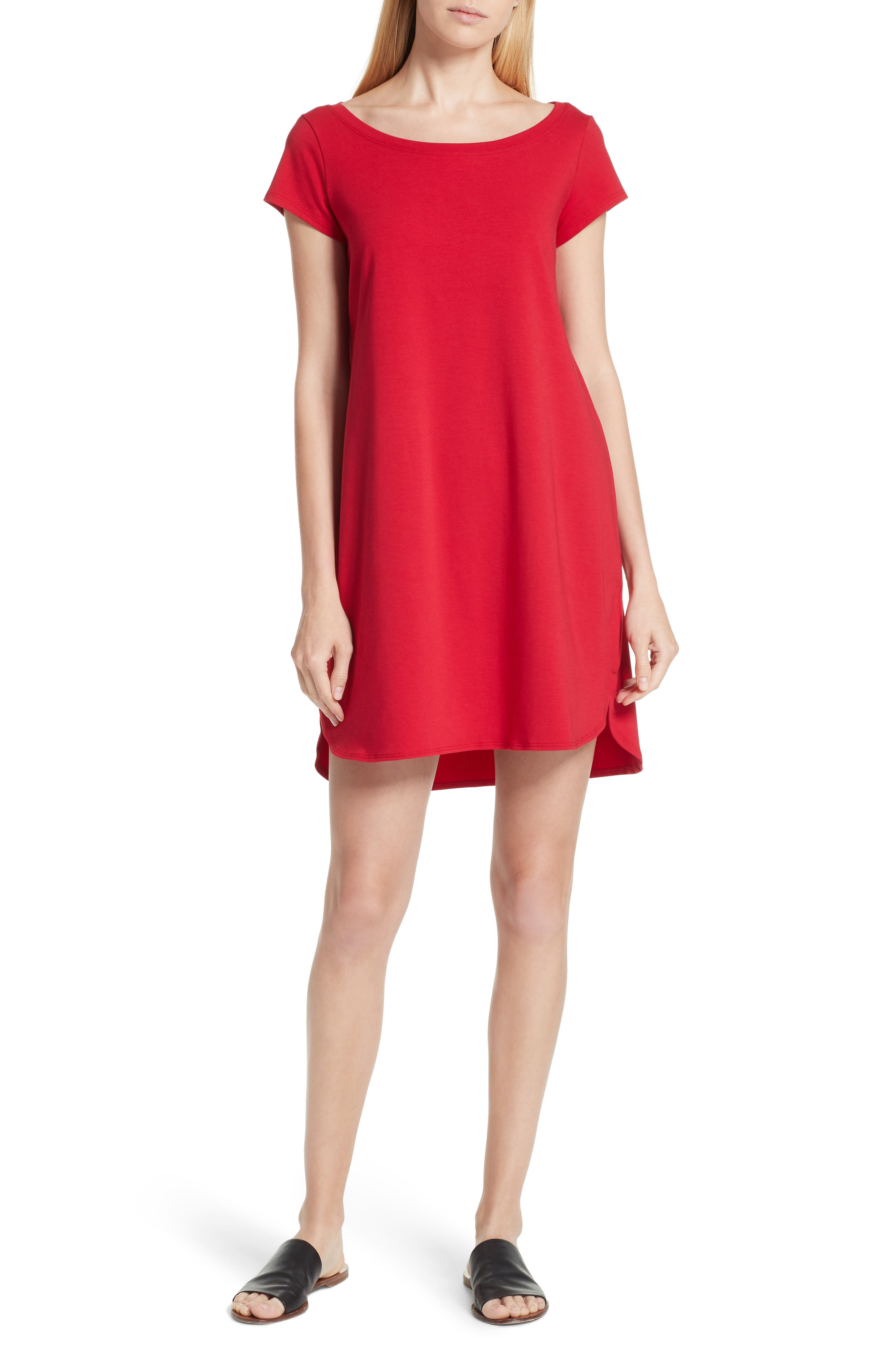 Stretch Cotton Shift Dress,                         Main,                         color, Ruby