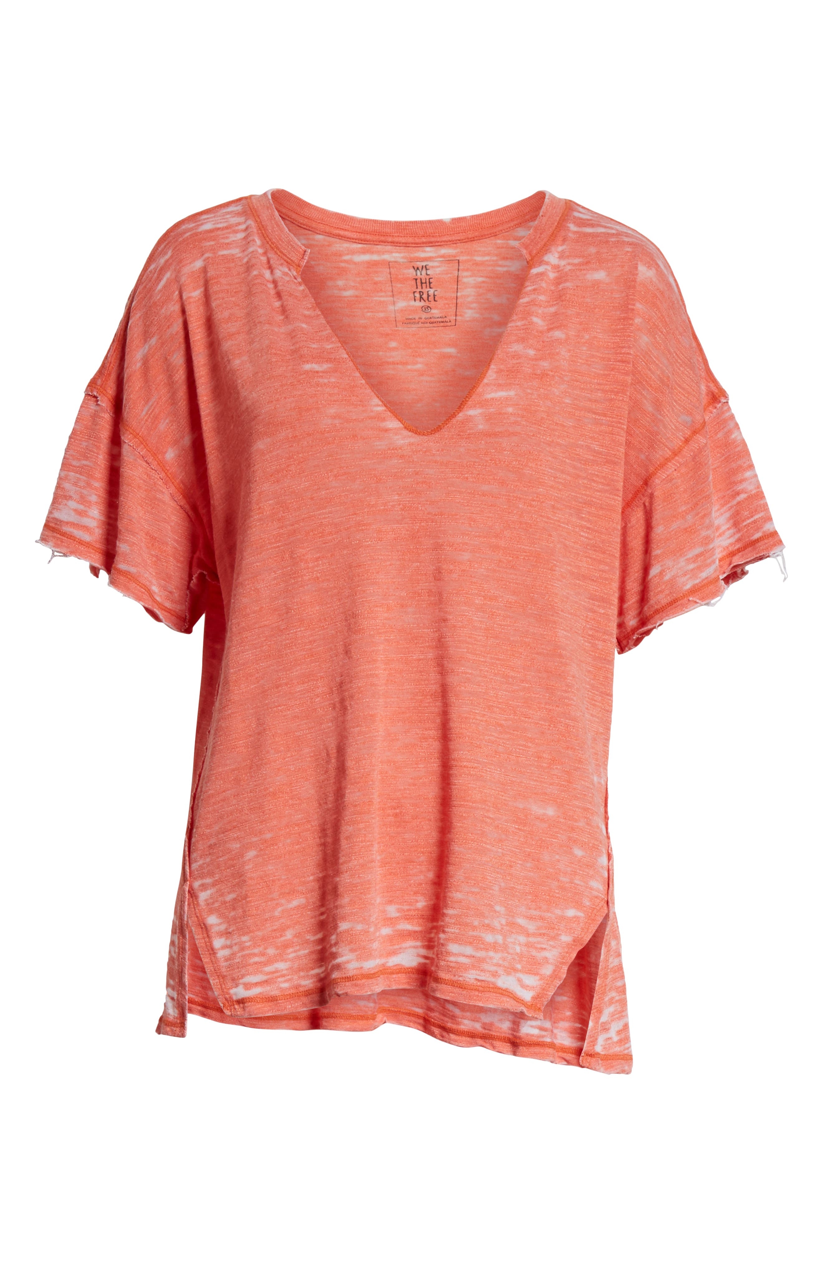 Maddie Burnout Tee,                         Main,                         color, Coral